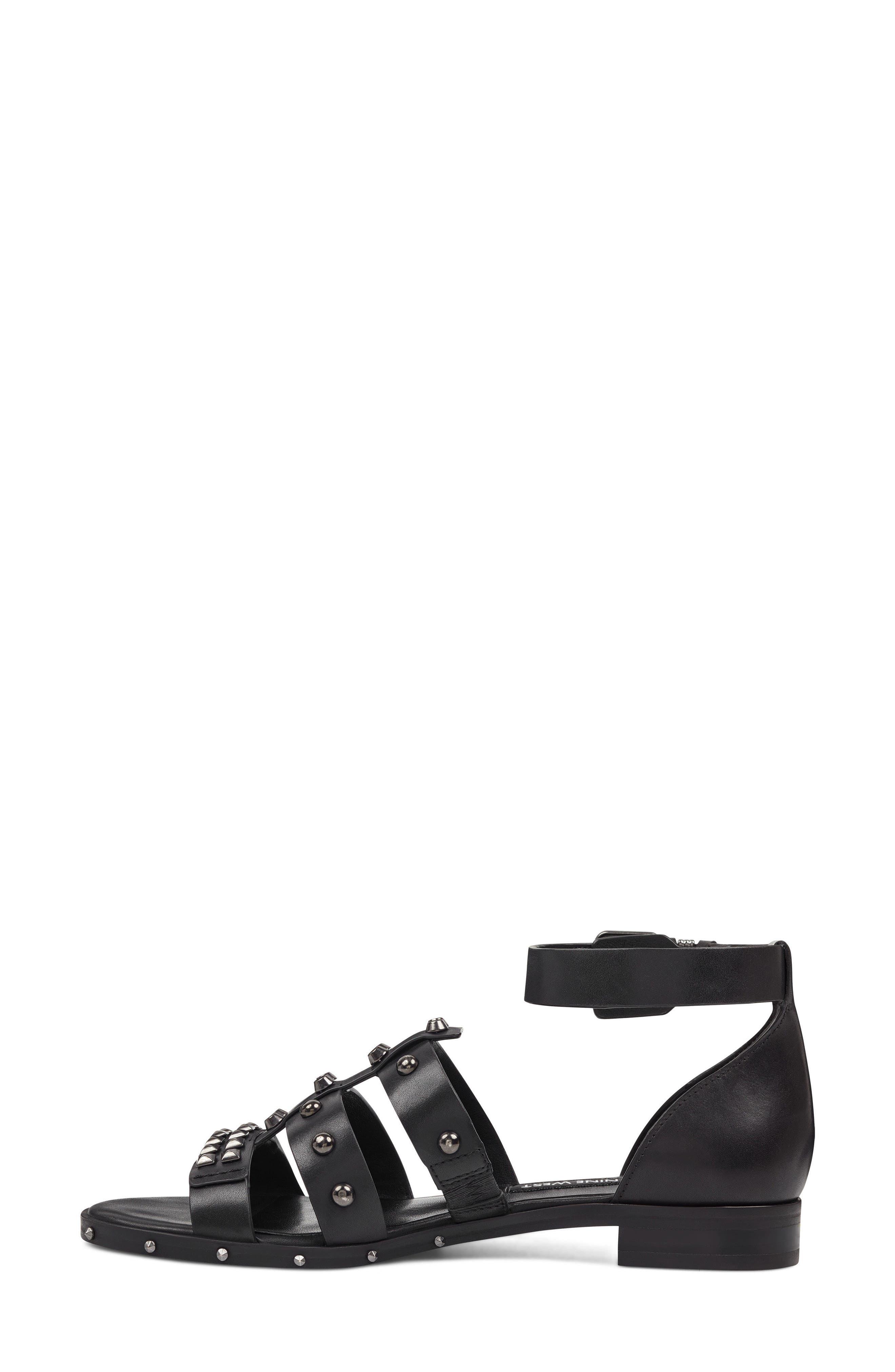 Corisande Sandal,                             Alternate thumbnail 7, color,                             BLACK LEATHER