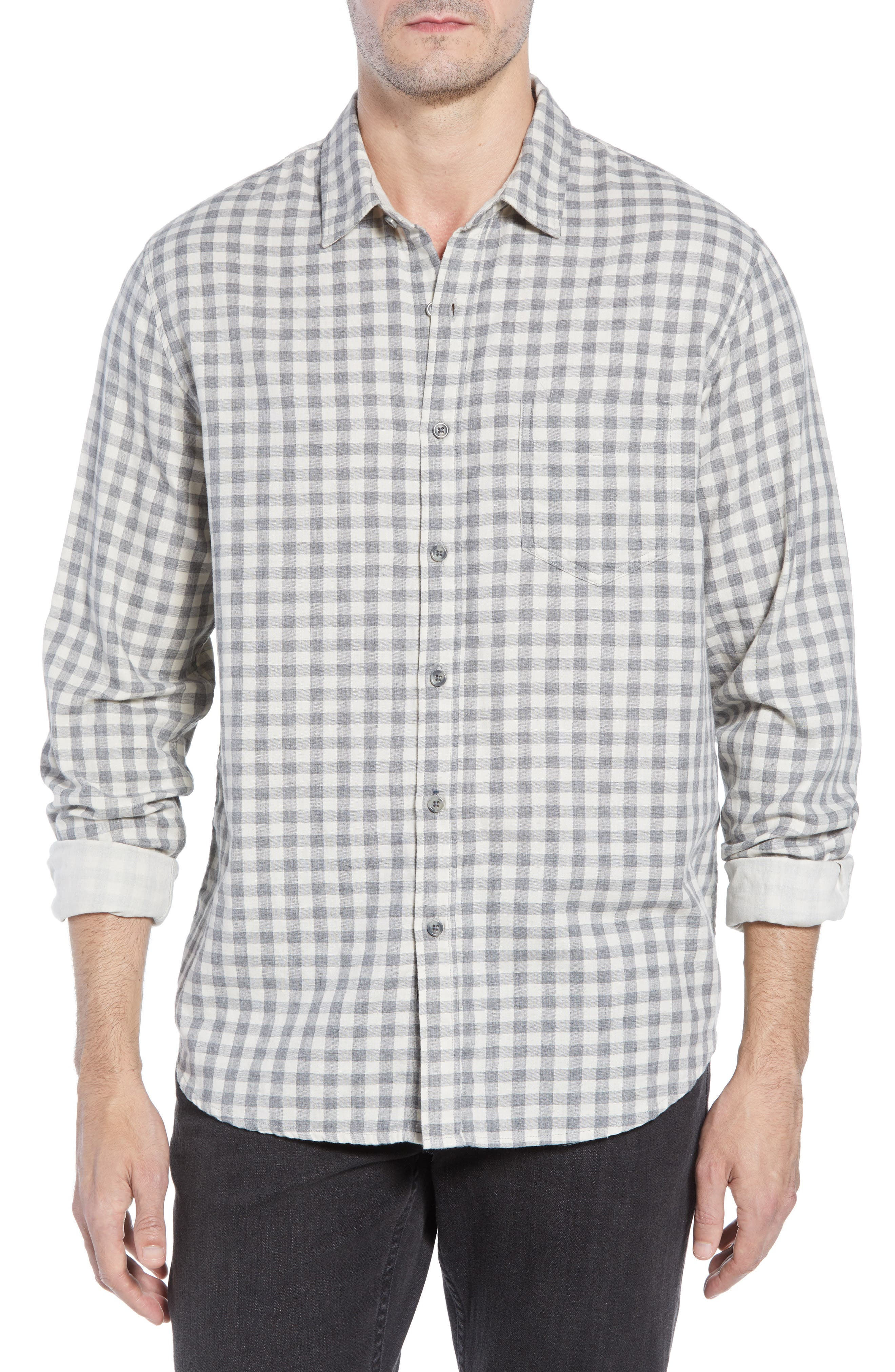 Connor Slim Fit Check Sport Shirt,                         Main,                         color, EGGSHELL GREY