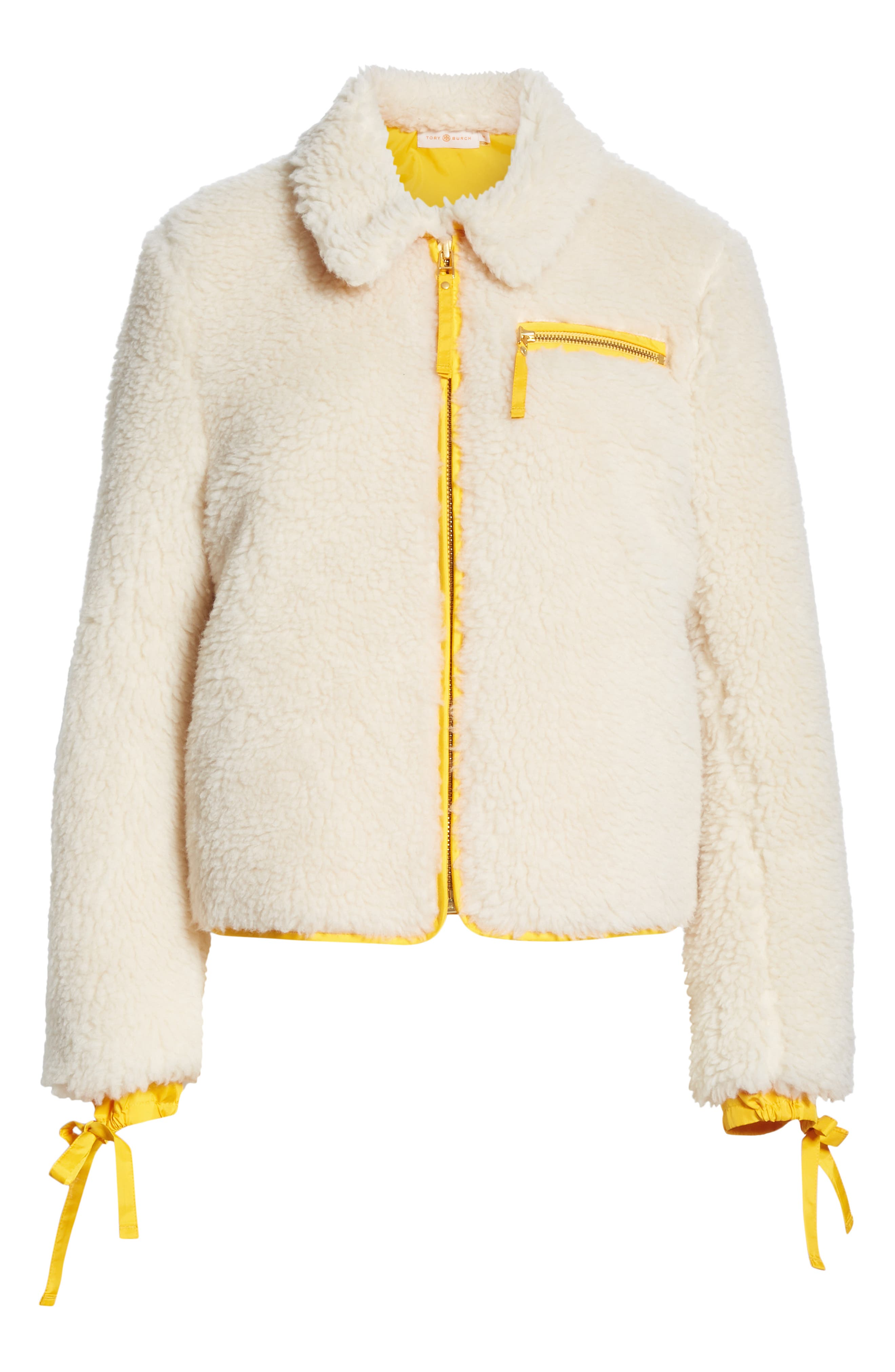 Faux Shearling Jacket,                             Alternate thumbnail 5, color,                             NEW IVORY