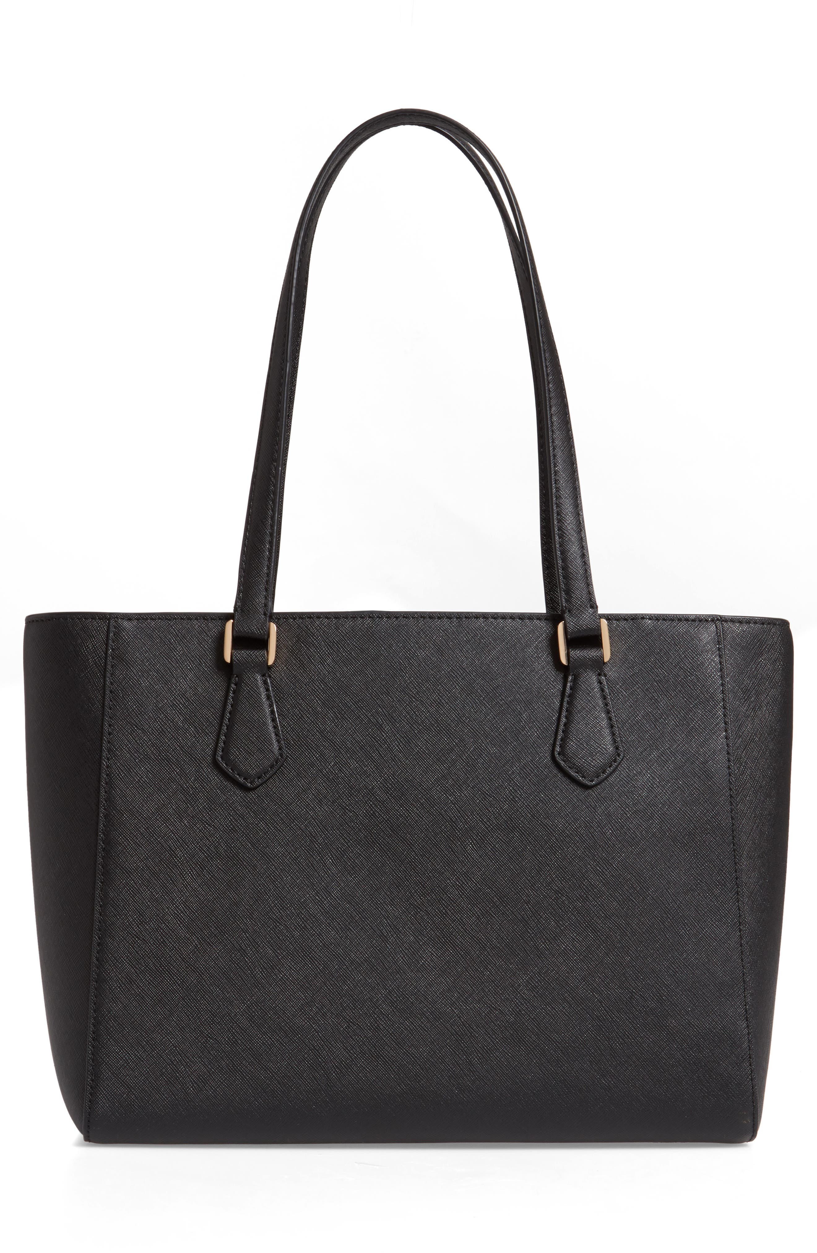 Small Robinson Saffiano Leather Tote,                             Alternate thumbnail 3, color,                             BLACK