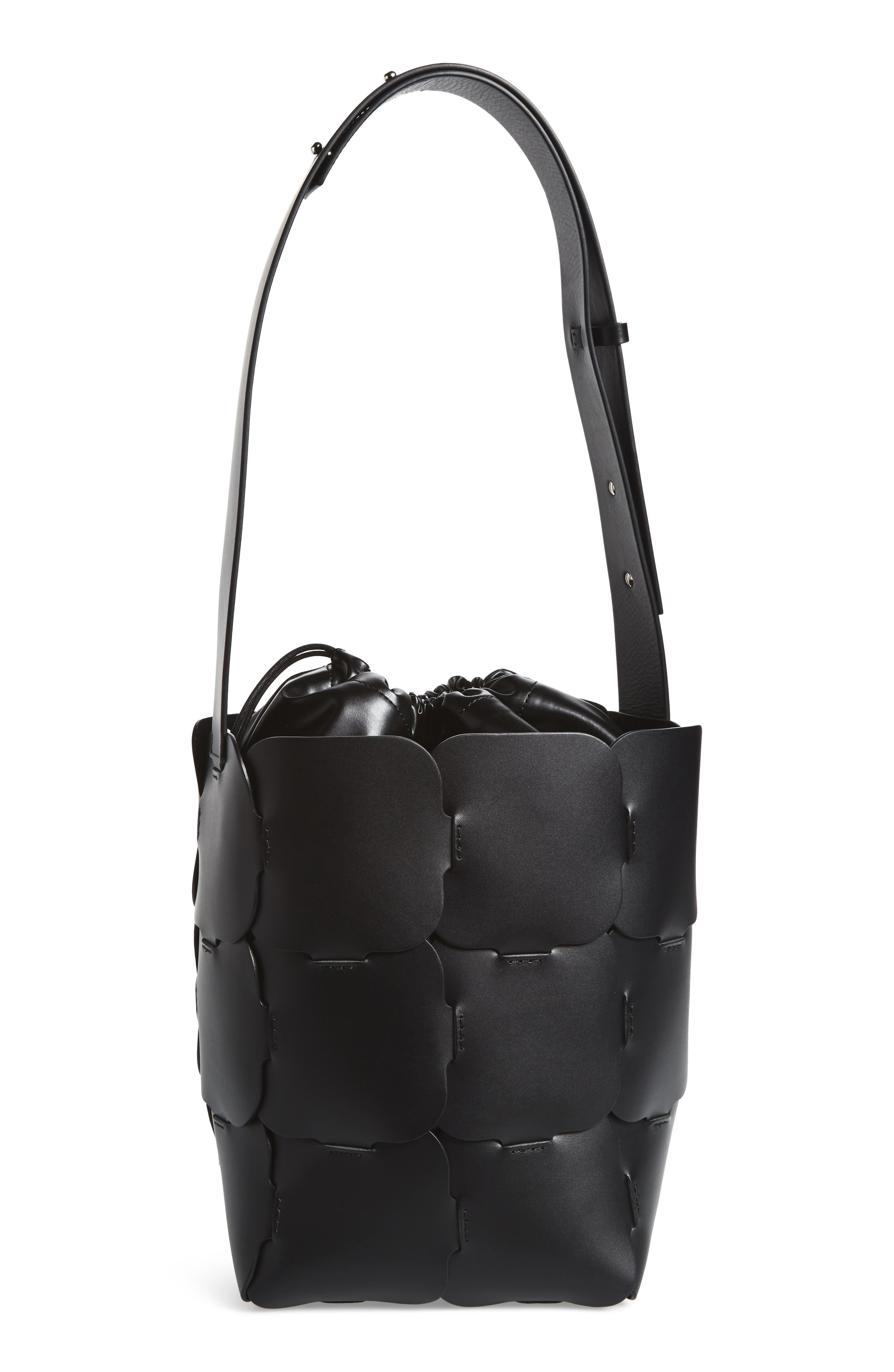 Medium Element Leather Bucket Bag,                             Alternate thumbnail 3, color,                             BLACK
