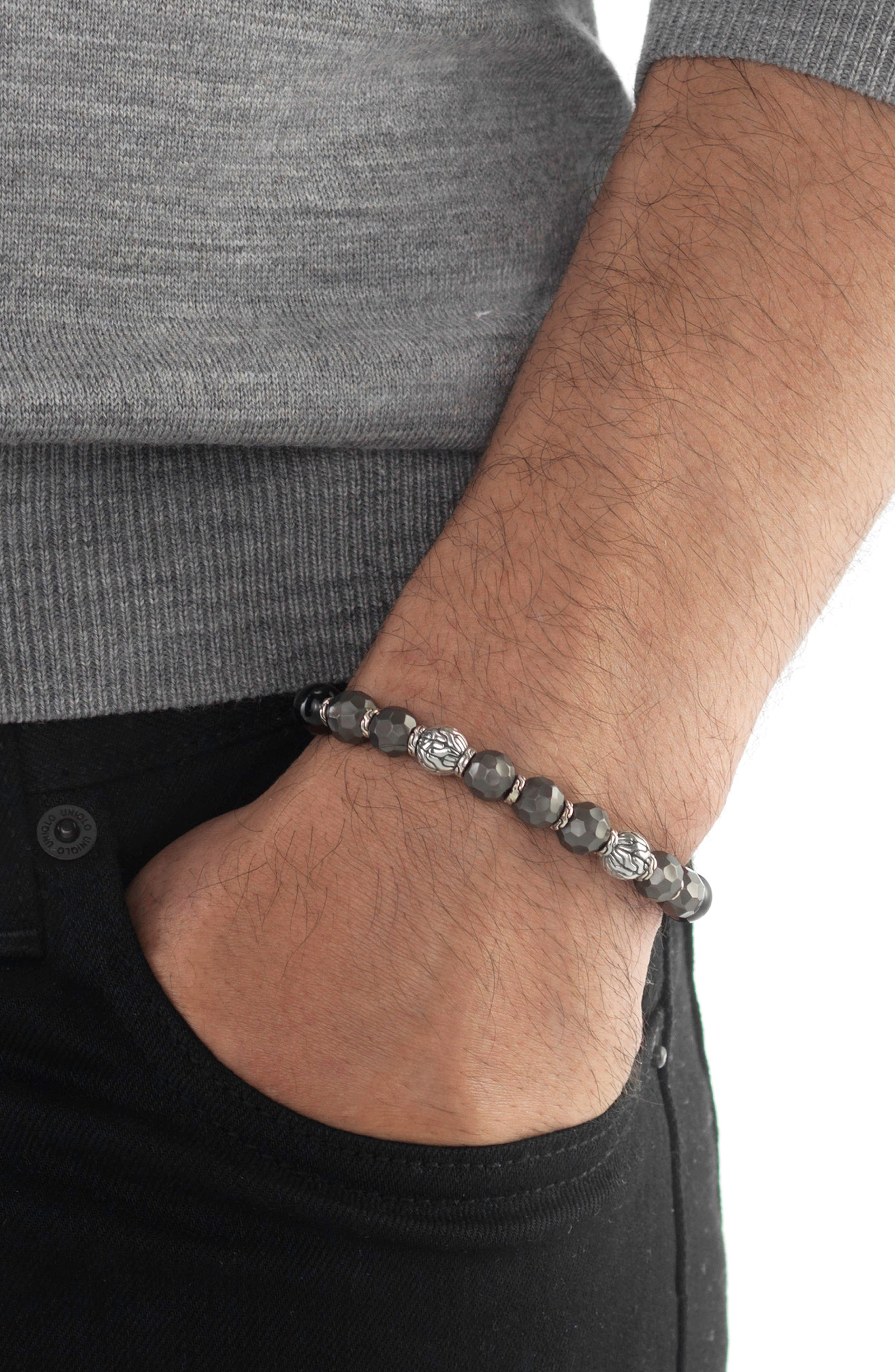 Men's Hammered Bead Bracelet,                             Alternate thumbnail 2, color,                             SILVER/ BLACK TOURMALINE