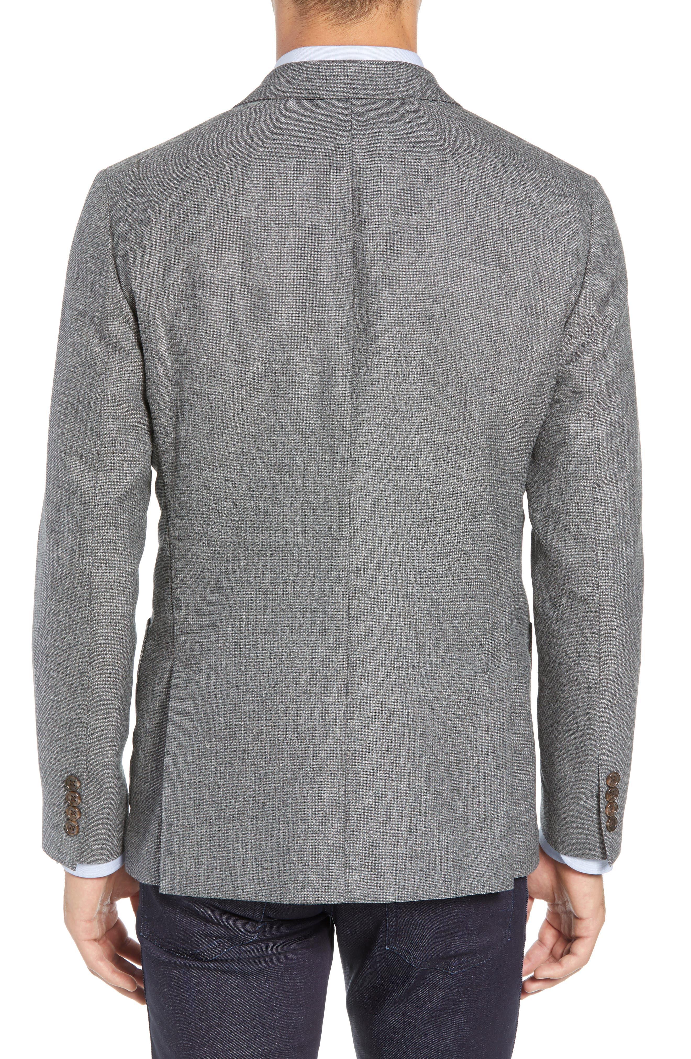 Trim Fit Wool Sport Coat,                             Alternate thumbnail 2, color,                             MID GREY