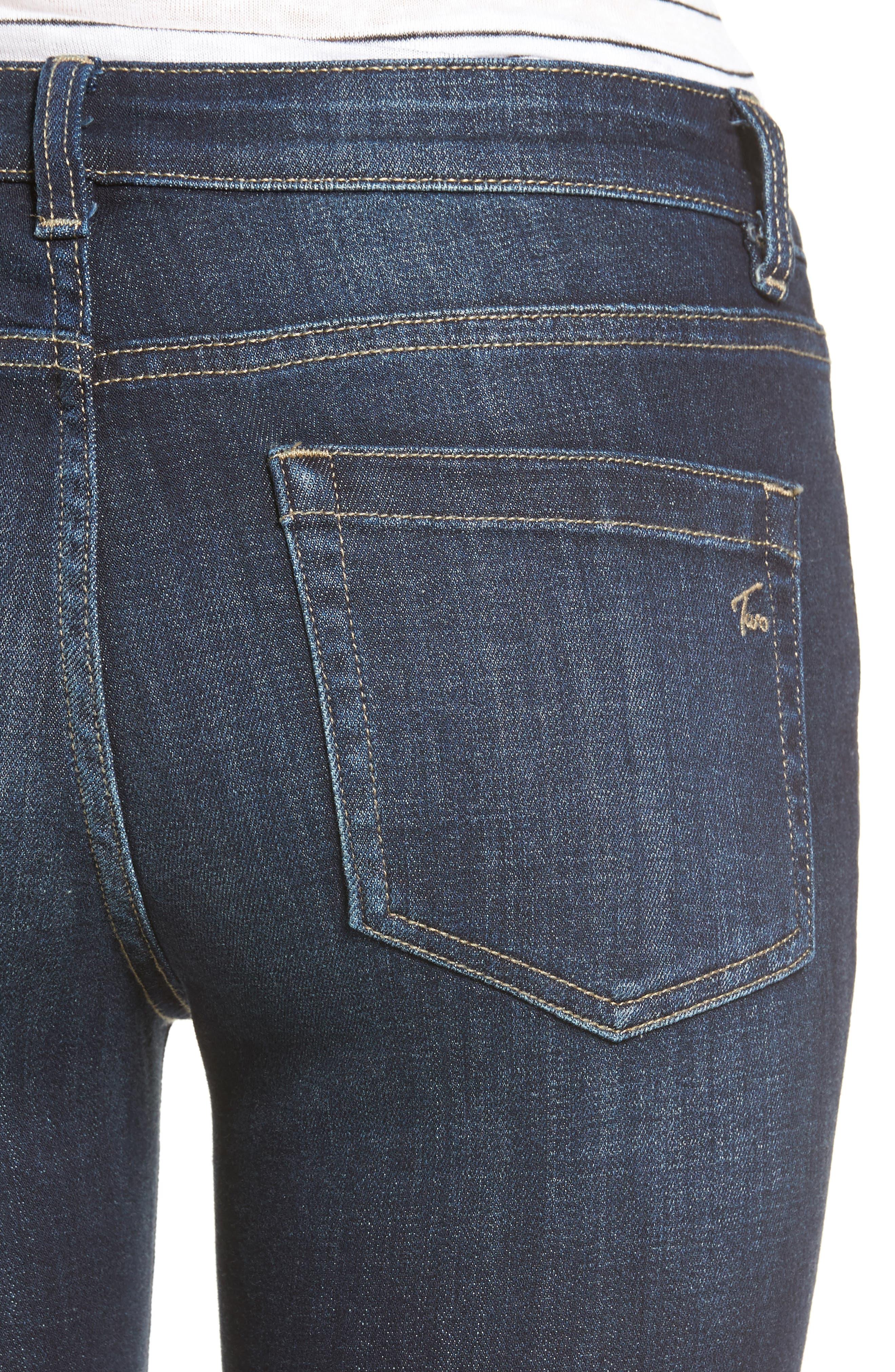 Release Hem Skinny Jeans,                             Alternate thumbnail 4, color,                             DARK AUTHENTIC