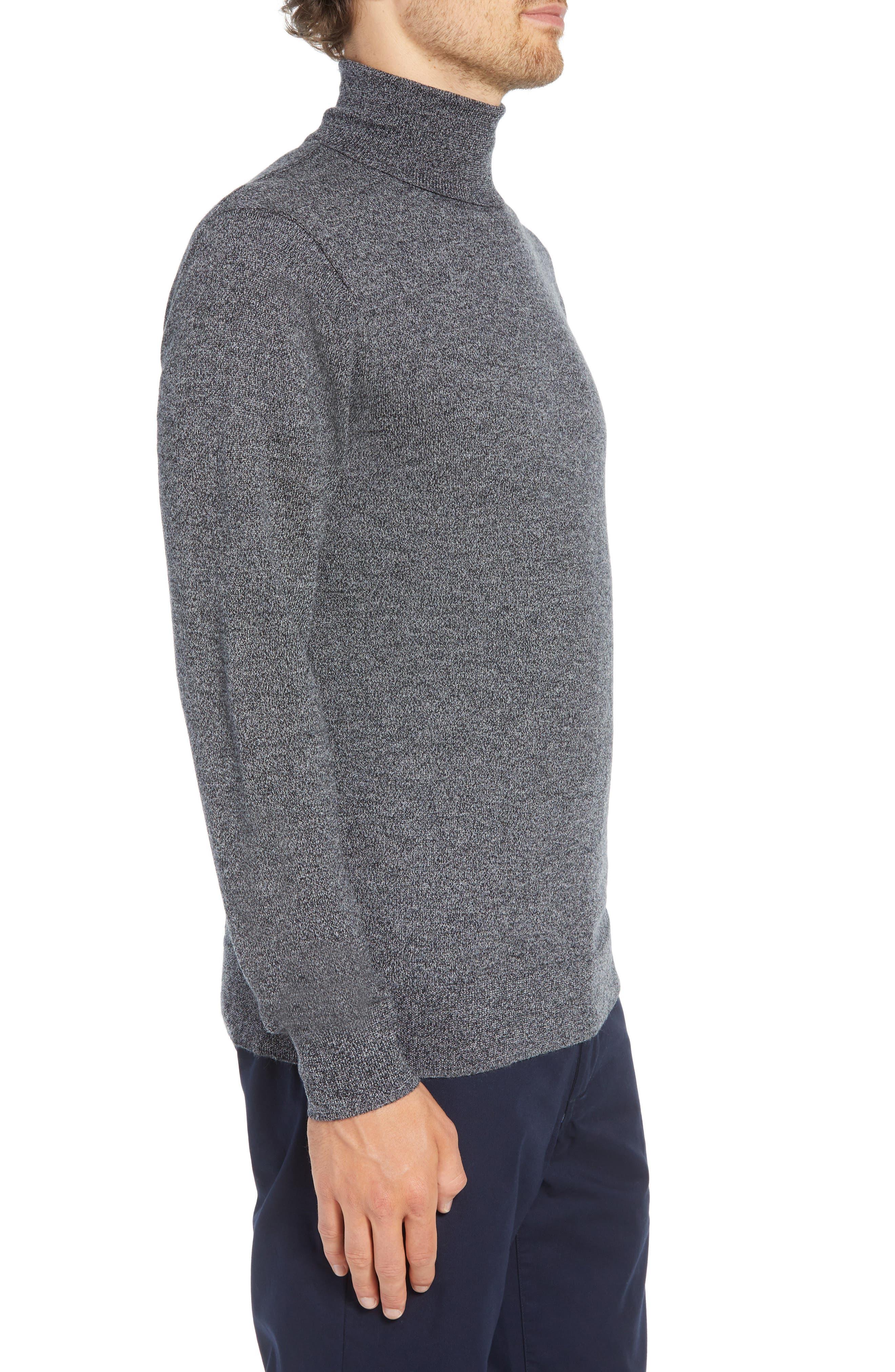 Slim Fit Turtleneck Merino Wool Sweater,                             Alternate thumbnail 3, color,                             CHARCOAL MARL