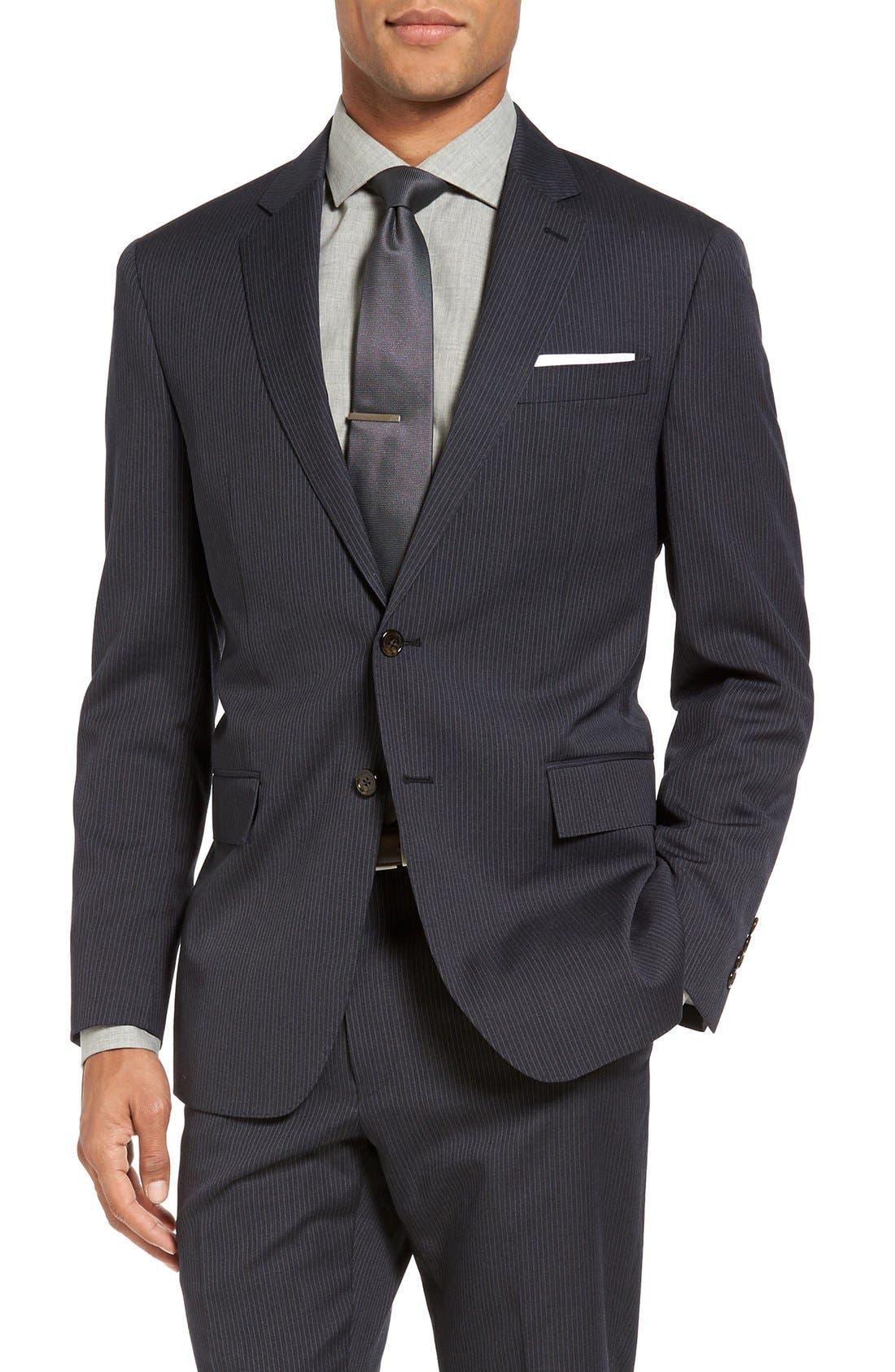 Trim Fit Stripe Wool Suit,                             Alternate thumbnail 4, color,                             025