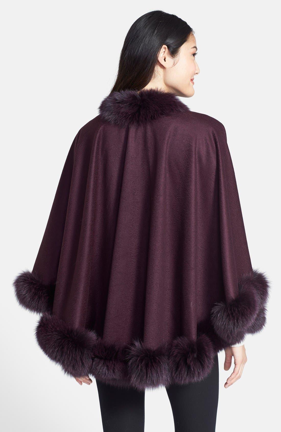 Genuine Fox Fur Trim Short Cashmere Cape,                             Alternate thumbnail 12, color,