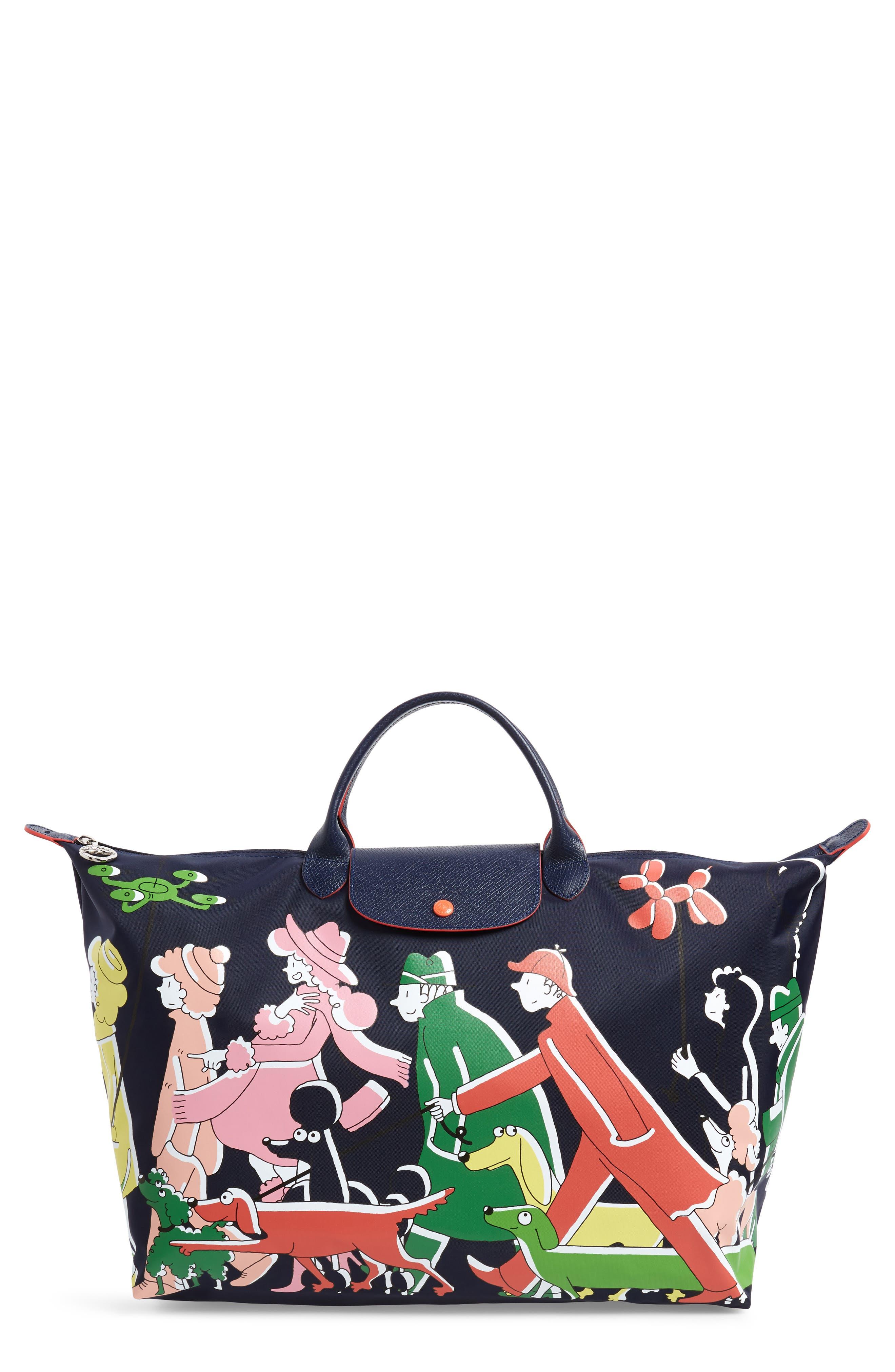 x Clo'e Floirat Le Pliage Illustration Travel Bag,                         Main,                         color, MULTICOLOR