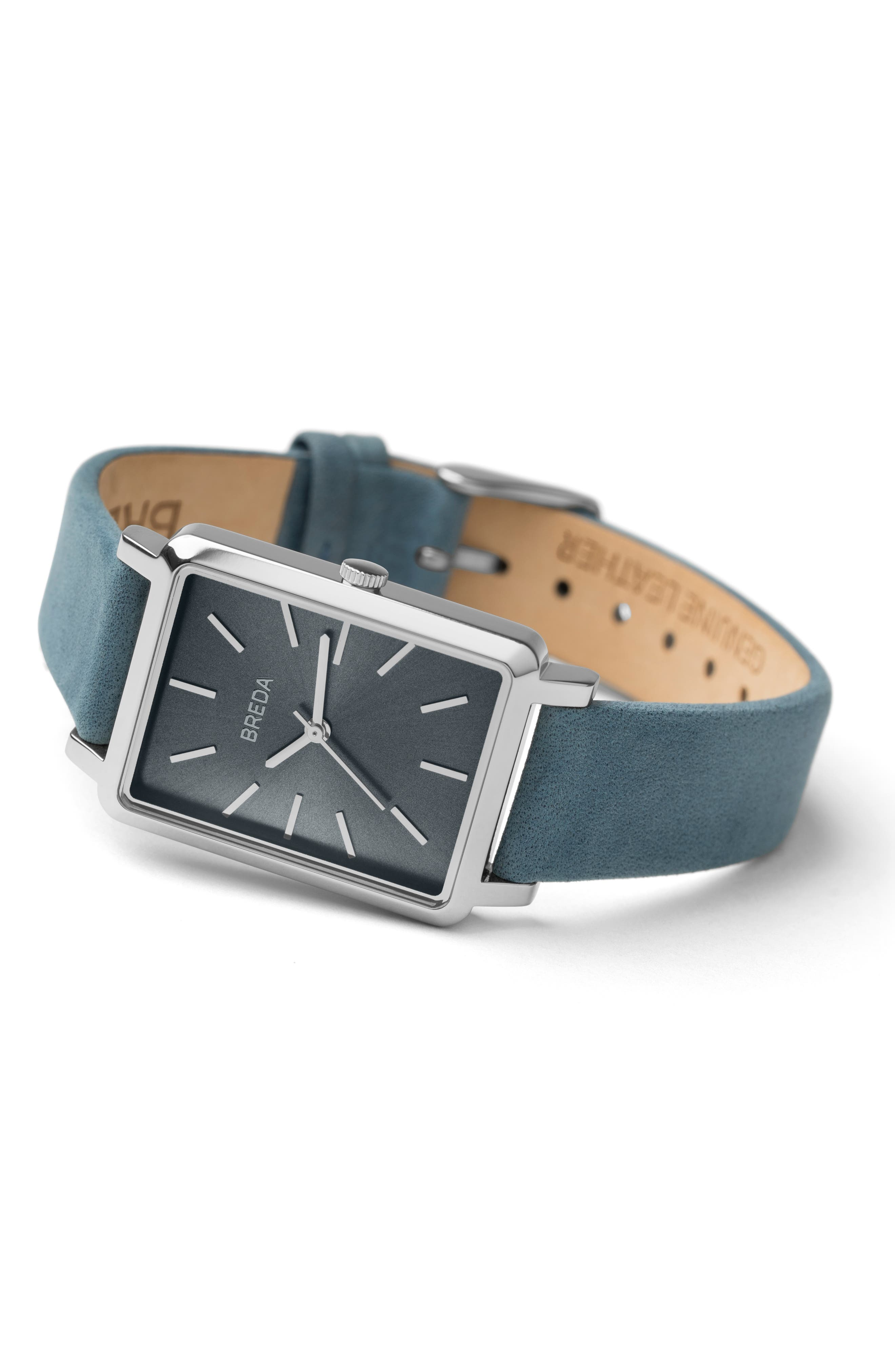 BREDA,                             Baer Rectangular Leather Strap Watch, 26mm,                             Alternate thumbnail 2, color,                             BLUE/ SILVER