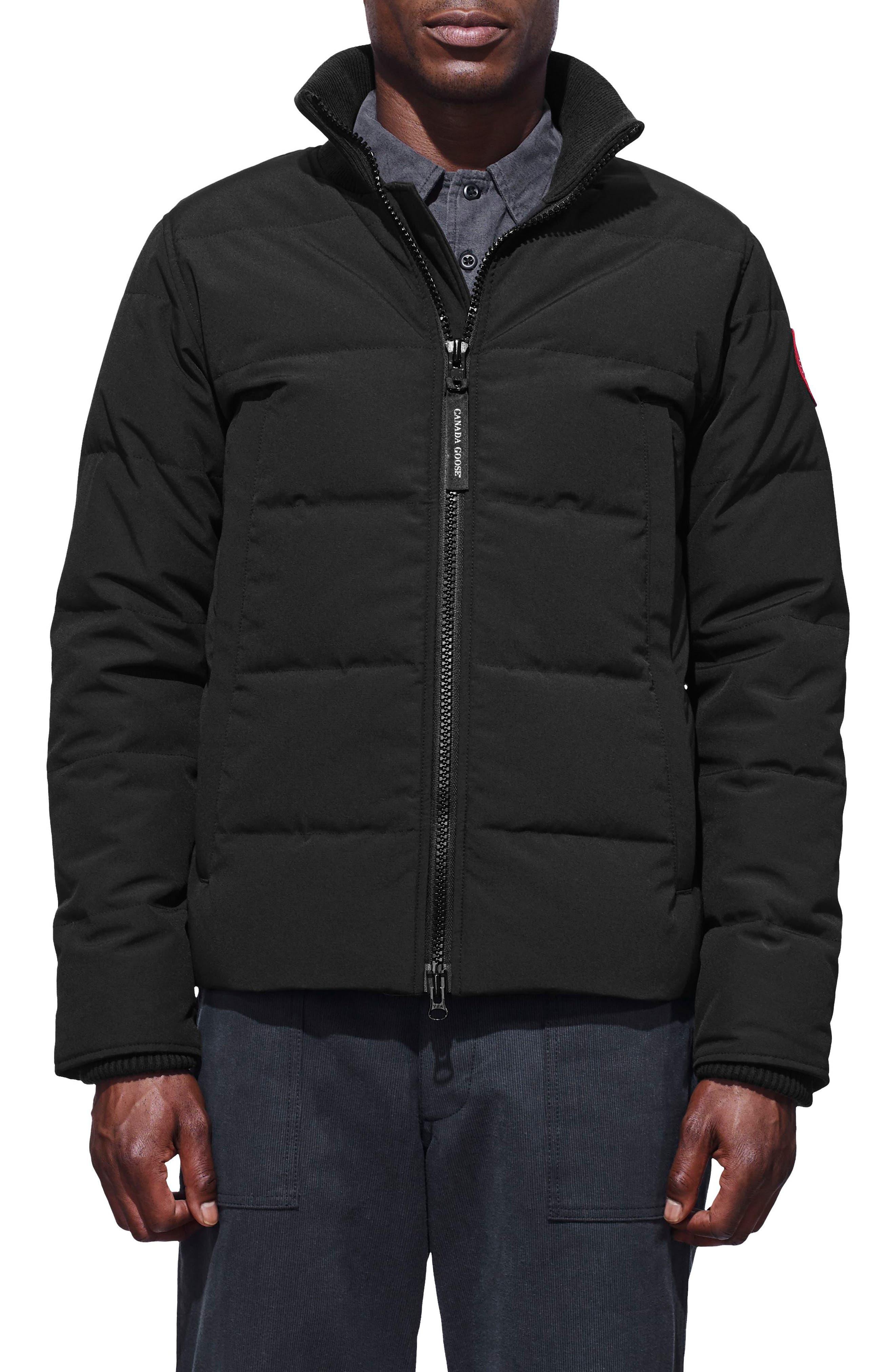 'Woolford' Slim Fit Down Bomber Jacket,                         Main,                         color, BLACK