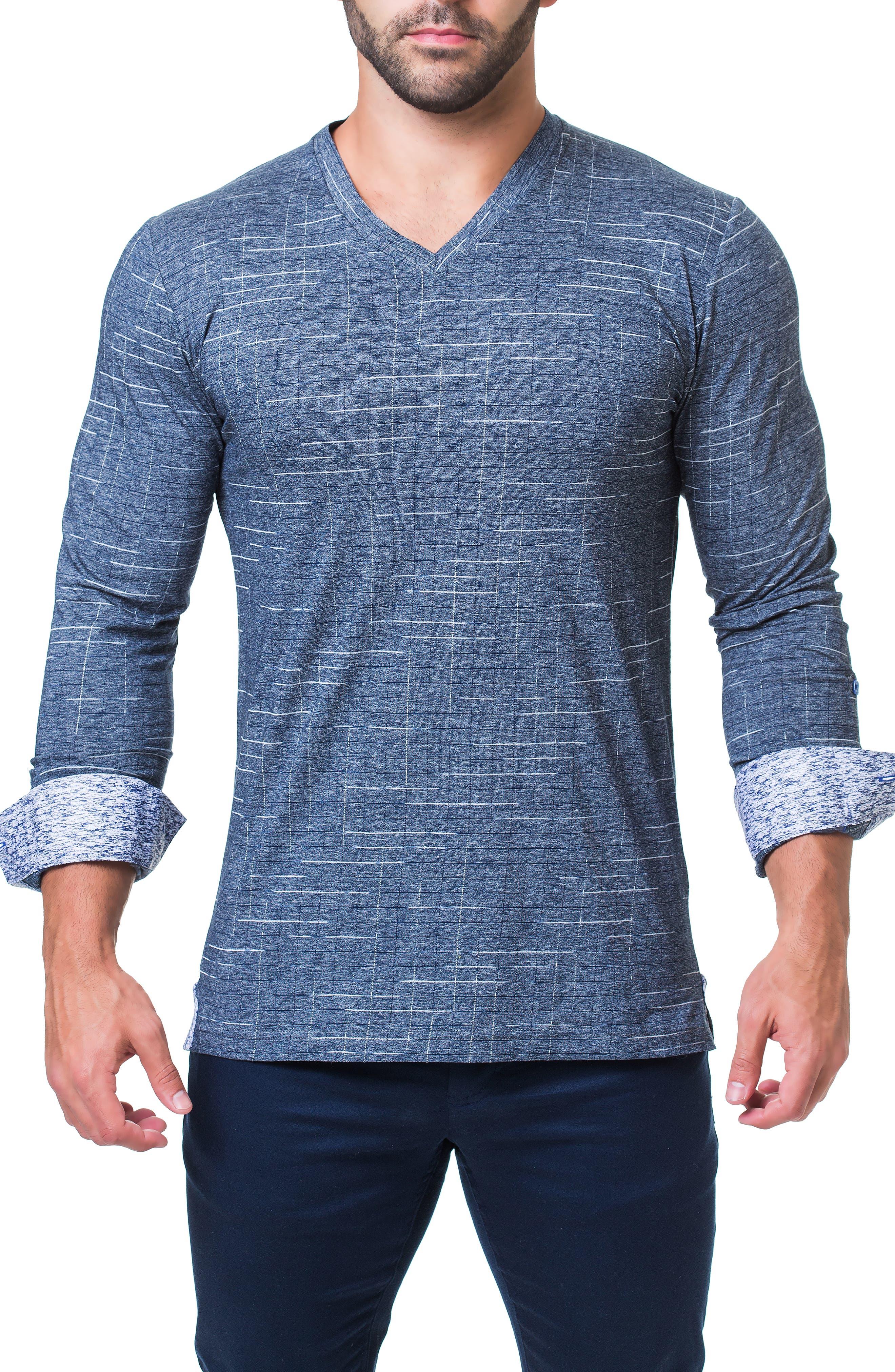 Edison Trim Fit Check T-Shirt,                             Alternate thumbnail 4, color,                             BLUE