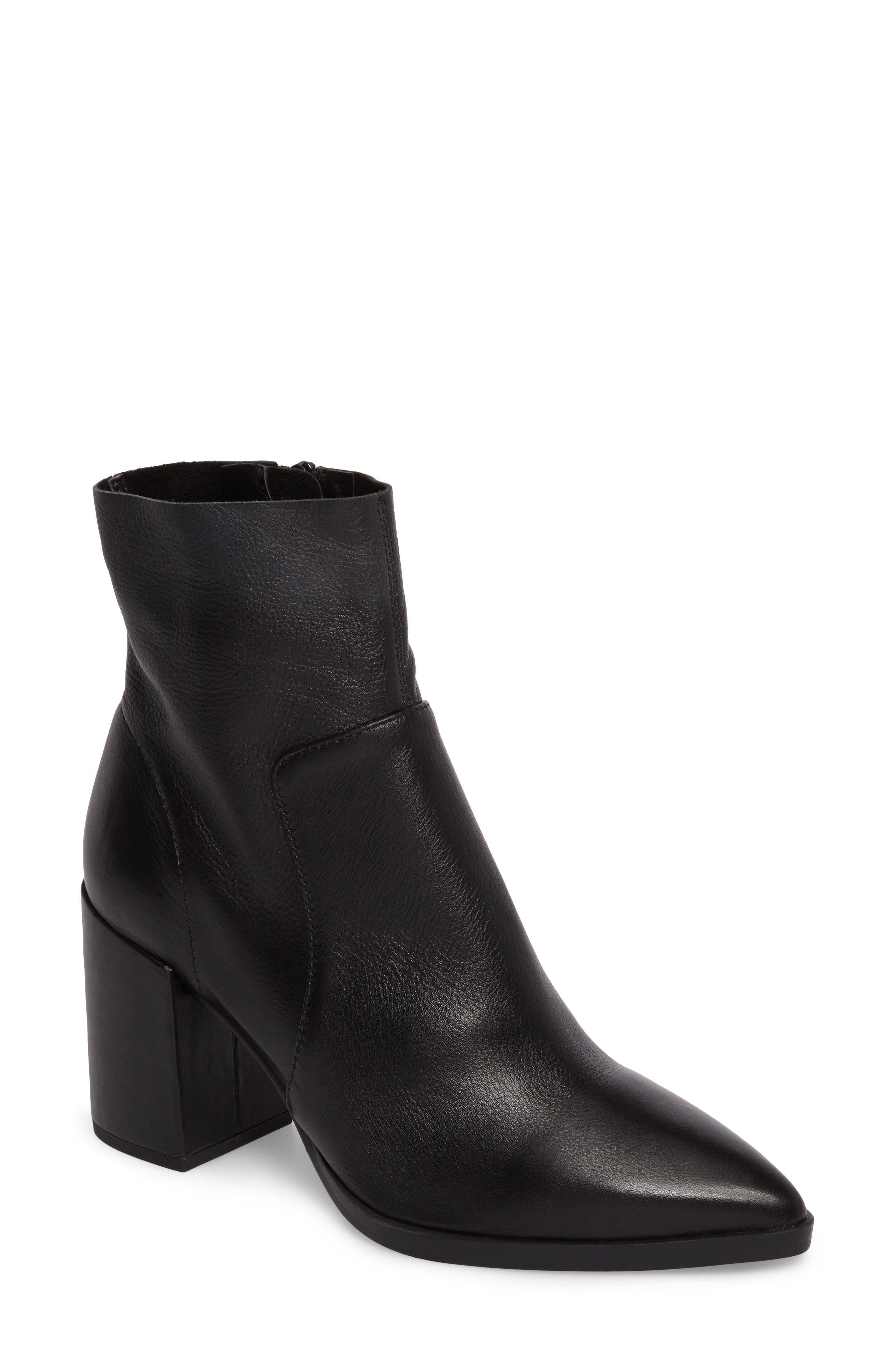 Brazen Pointy Toe Bootie,                             Main thumbnail 1, color,                             BLACK LEATHER