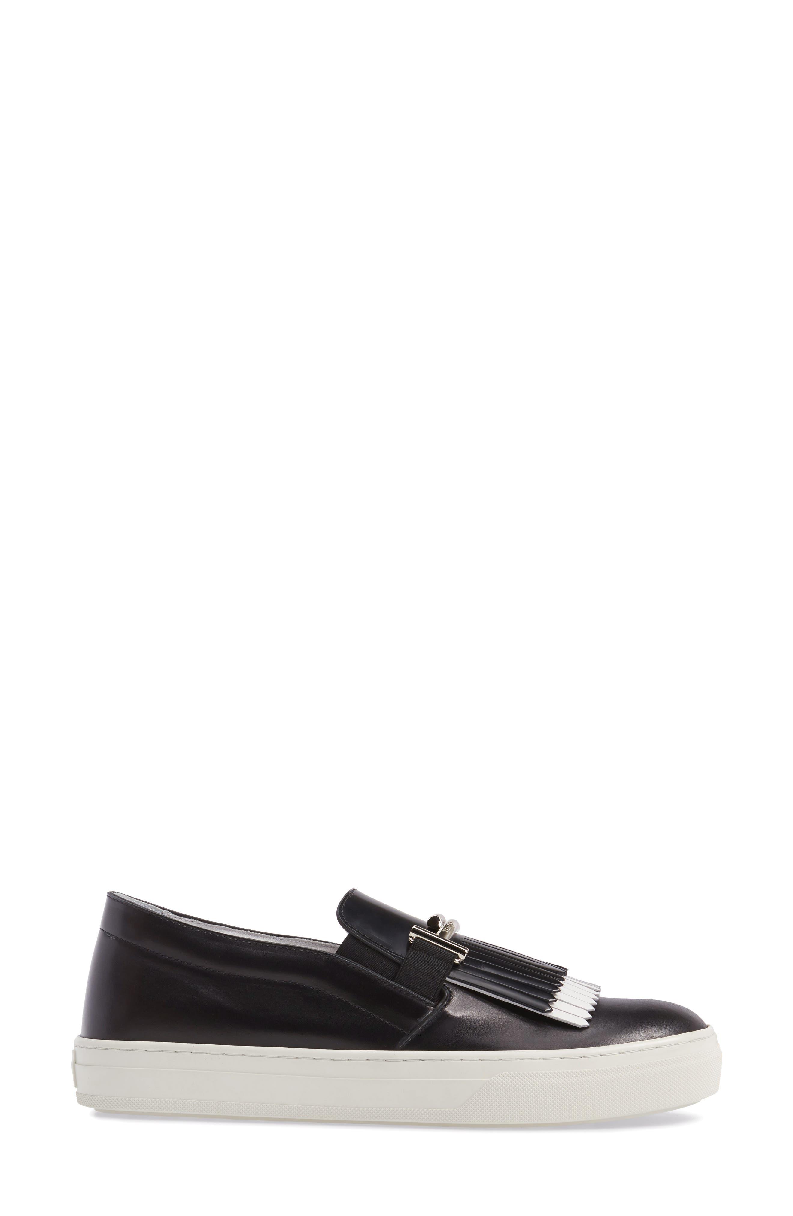 Double-T Kiltie Fringe Slip-On Sneaker,                             Alternate thumbnail 3, color,                             001