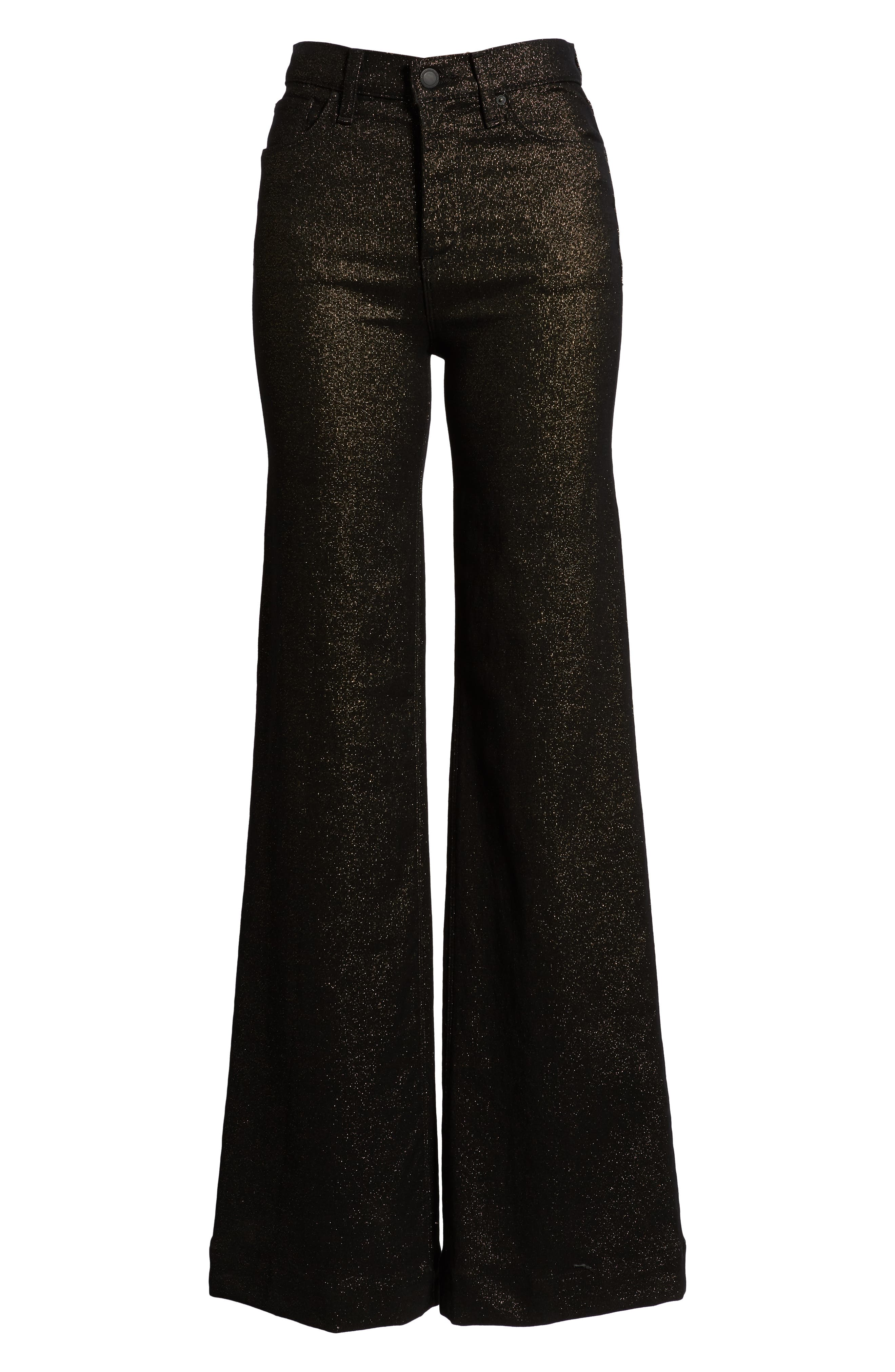 Holly High Waist Wide Leg Jeans,                             Alternate thumbnail 7, color,                             GOLD STELLAR