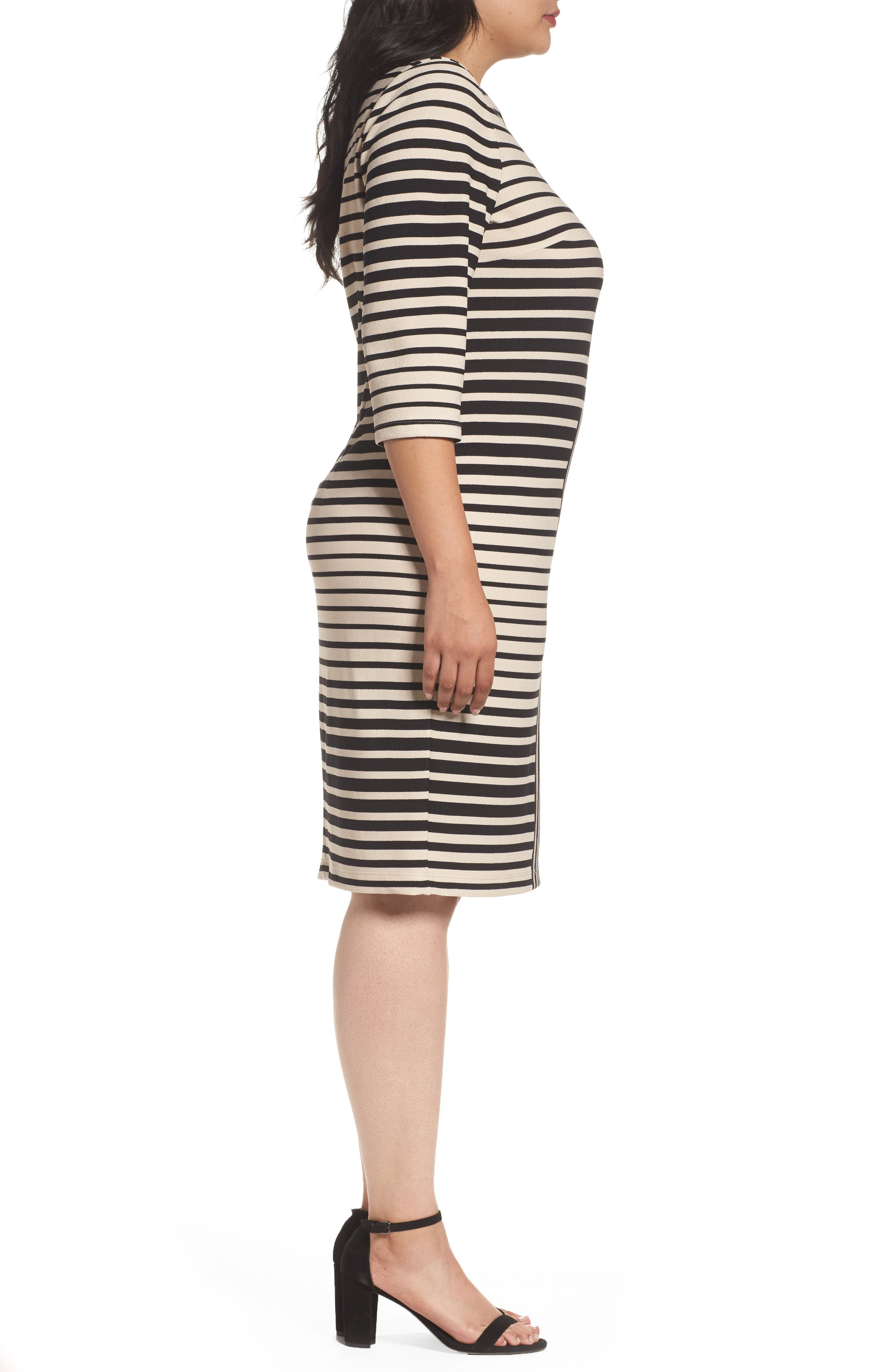 Stripe Knit Sheath Dress,                             Alternate thumbnail 3, color,                             250