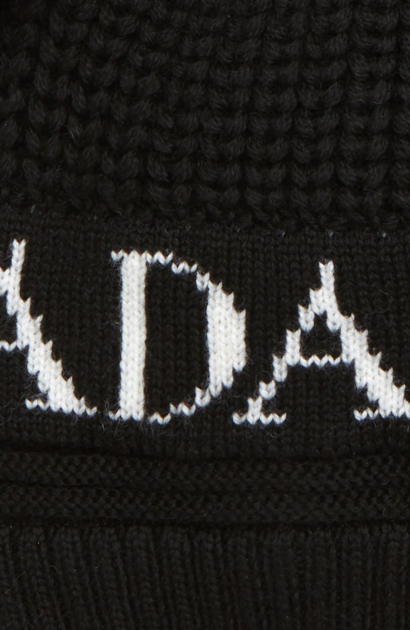 Double Pompom Hat,                             Alternate thumbnail 2, color,                             BLACK