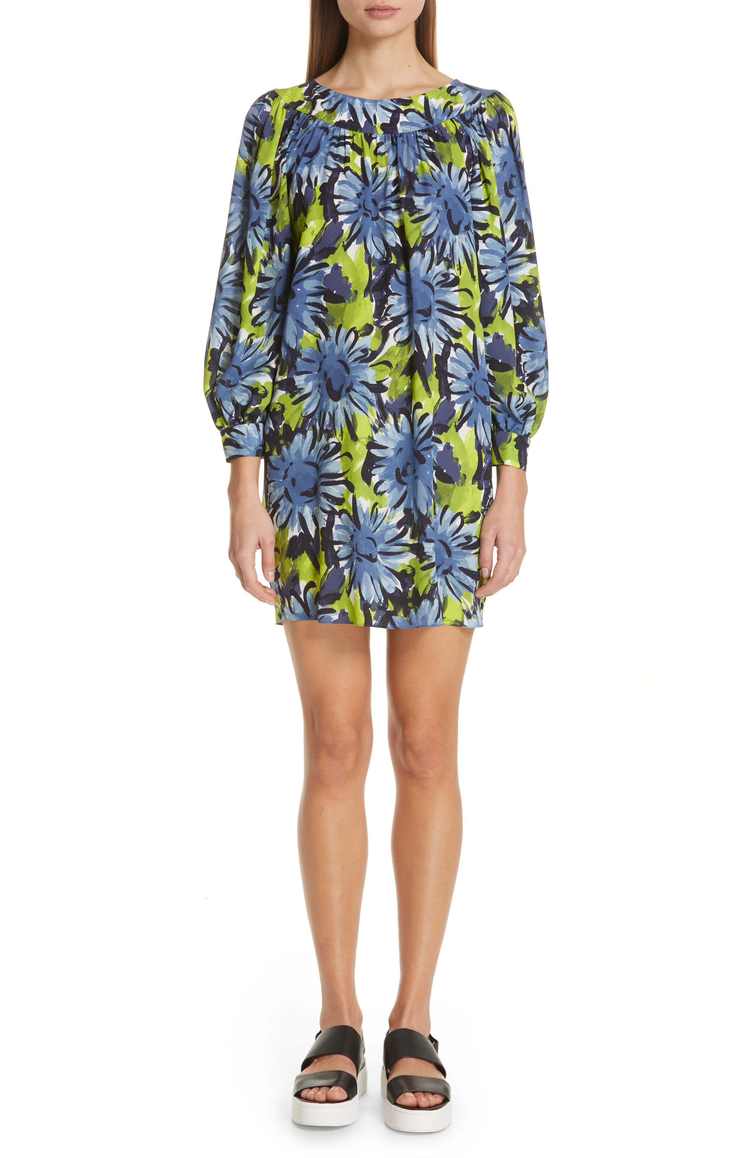 Michael Kors Print Silk Shift Dress, Blue