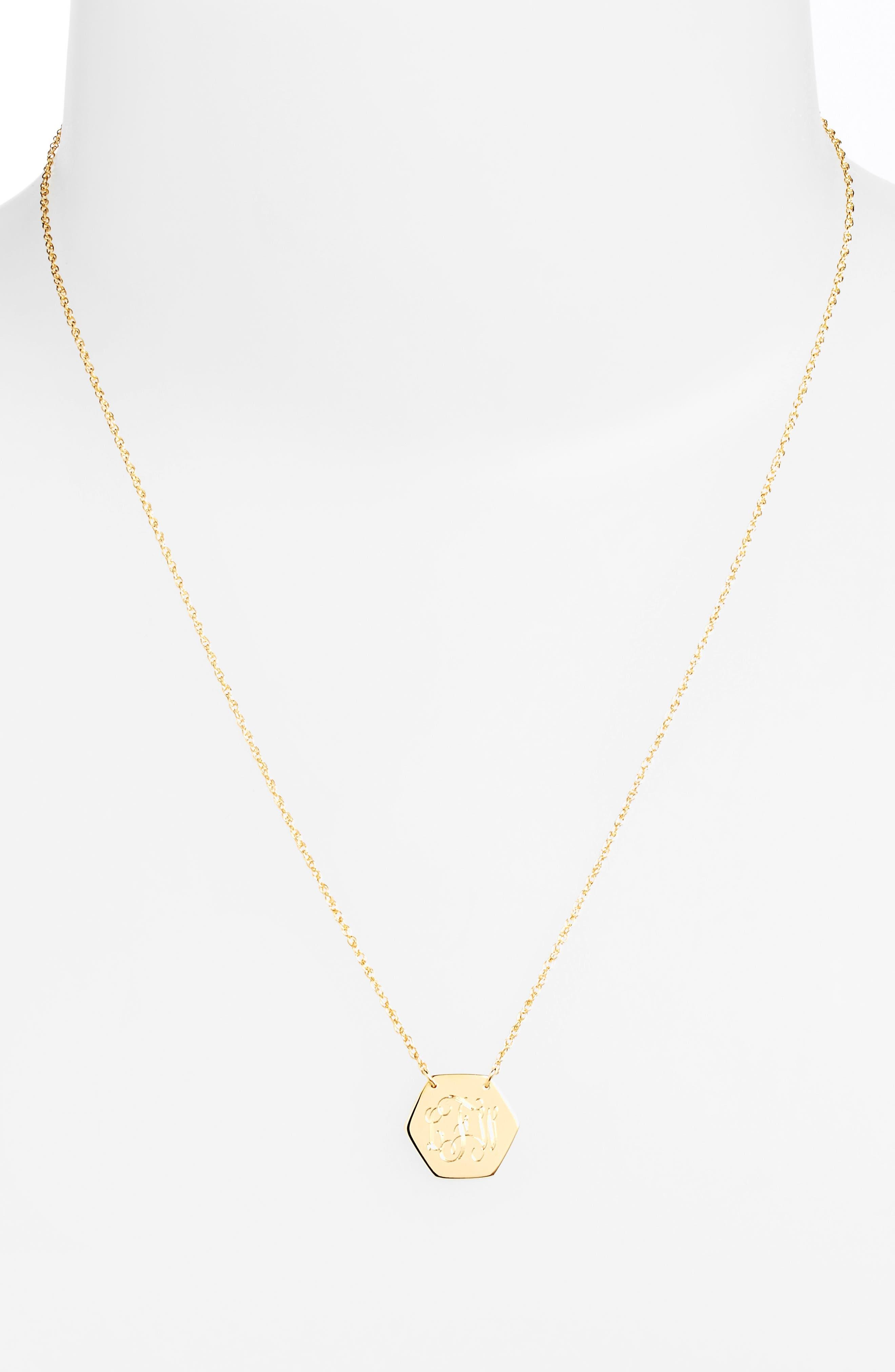 Personalized Hexagon Pendant Necklace,                             Alternate thumbnail 2, color,                             GOLD