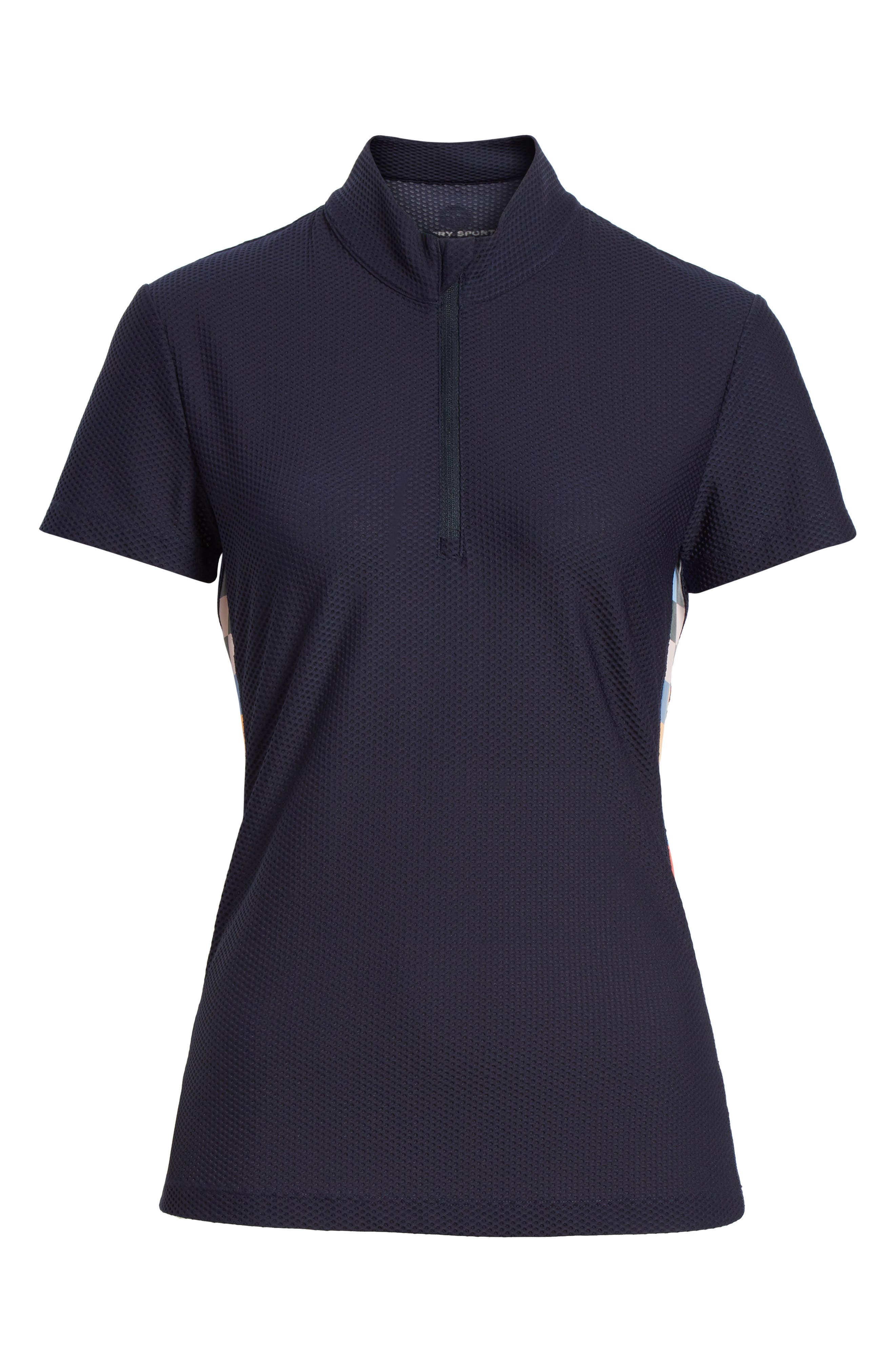 Checker Quarter Zip Mesh Top,                             Alternate thumbnail 6, color,                             TORY NAVY