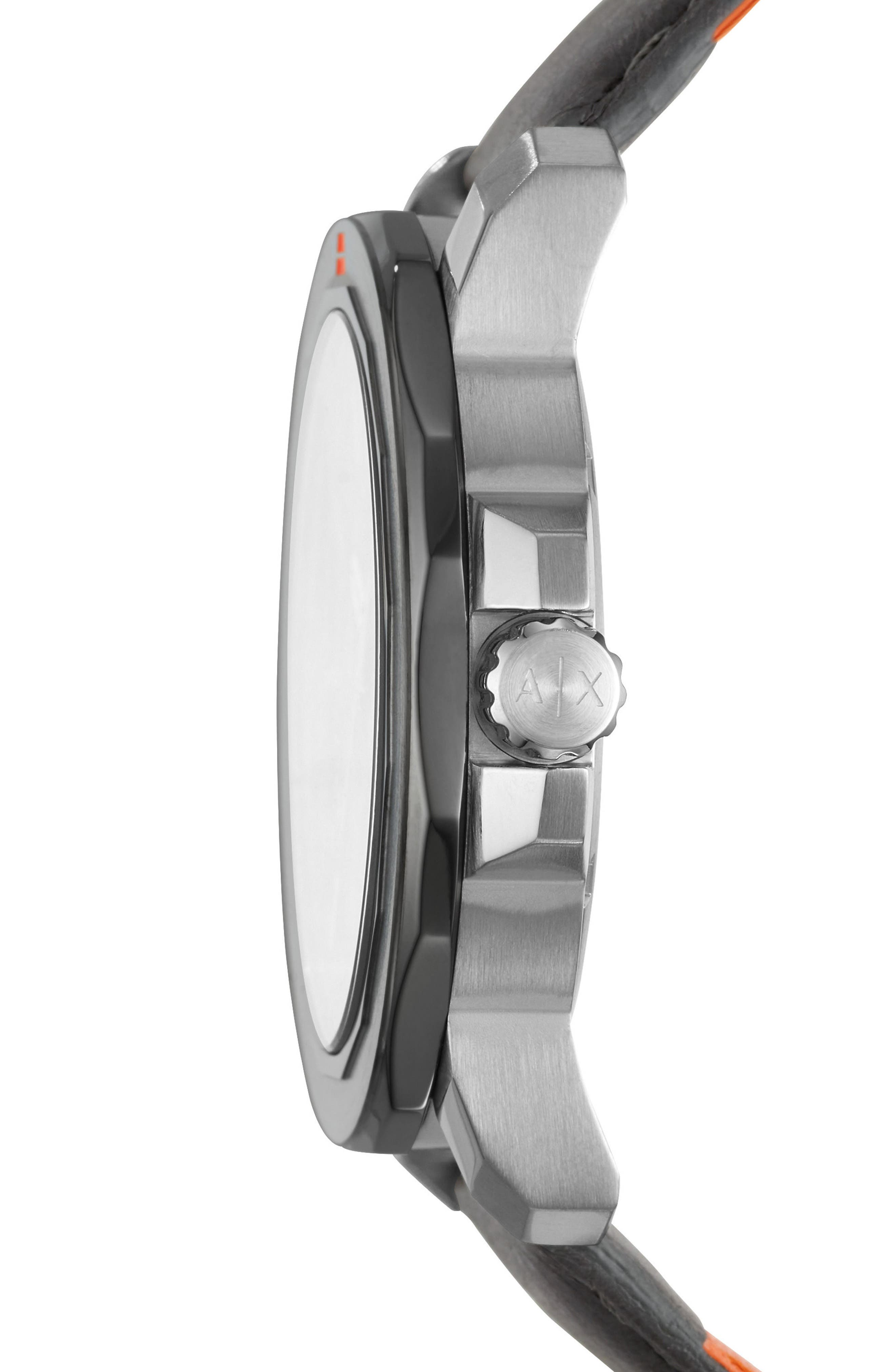 Three-Hand Leather Strap Watch, 44mm x 52mm,                             Alternate thumbnail 2, color,                             BLACK/ GREY