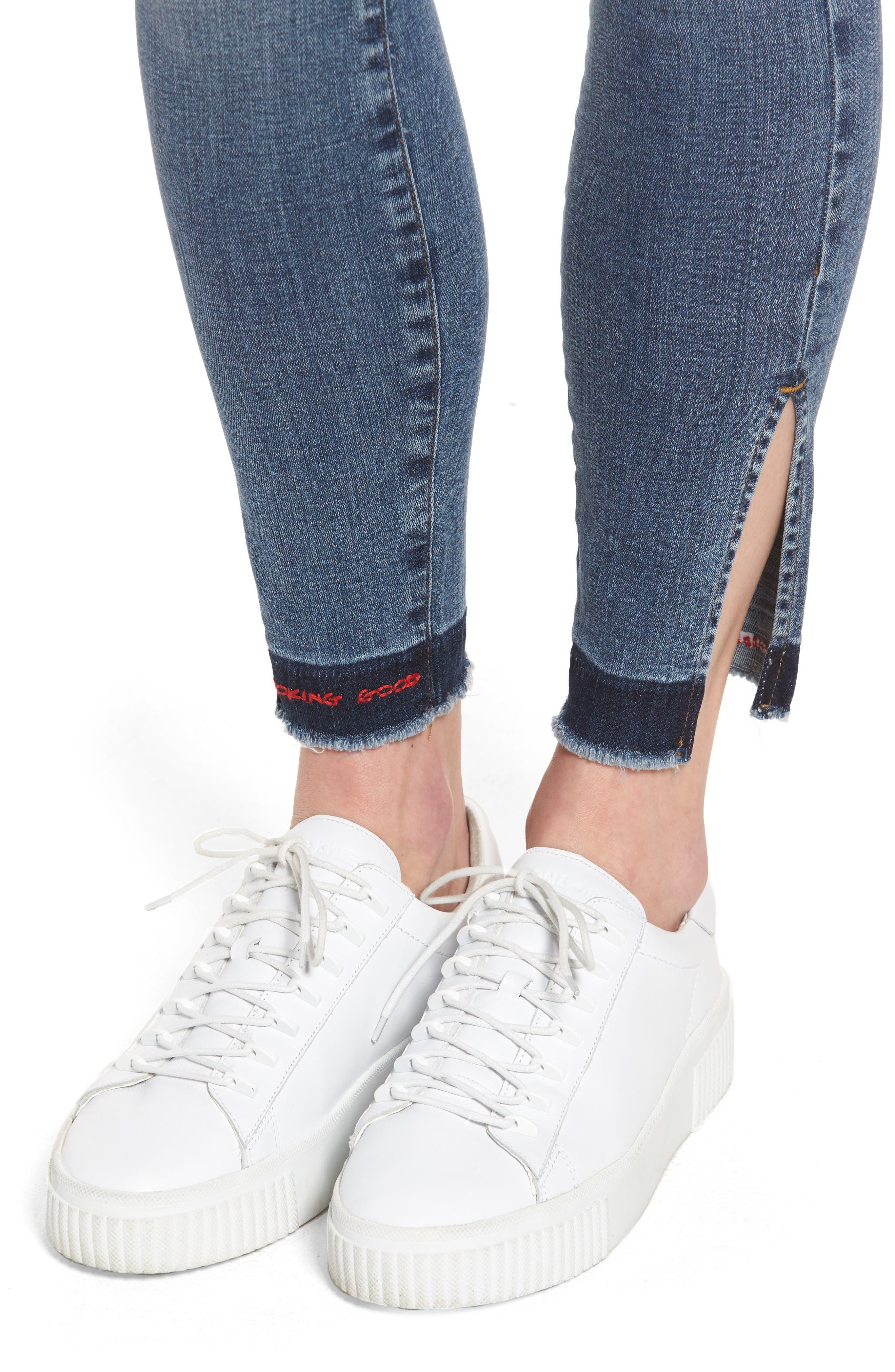 Good Legs High Rise Split Hem Crop Skinny Jeans,                             Alternate thumbnail 4, color,                             401