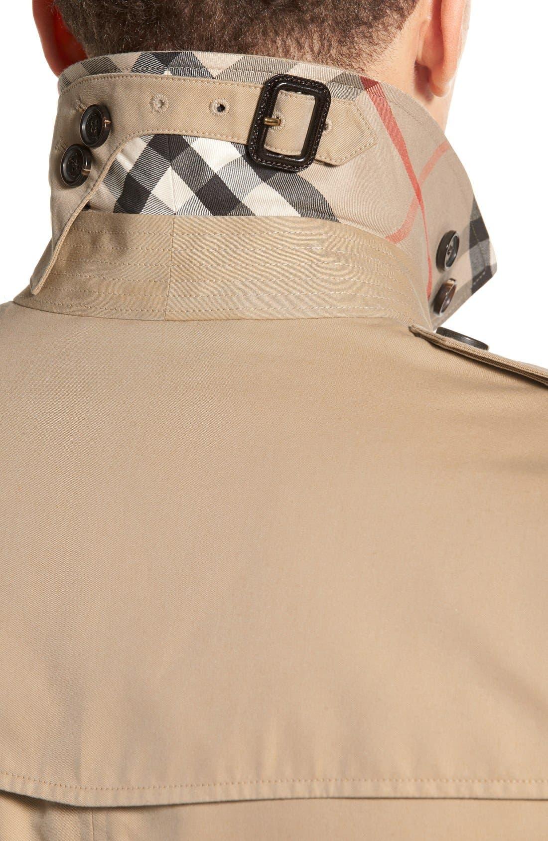 Kensington Double Breasted Trench Coat,                             Alternate thumbnail 6, color,                             HONEY