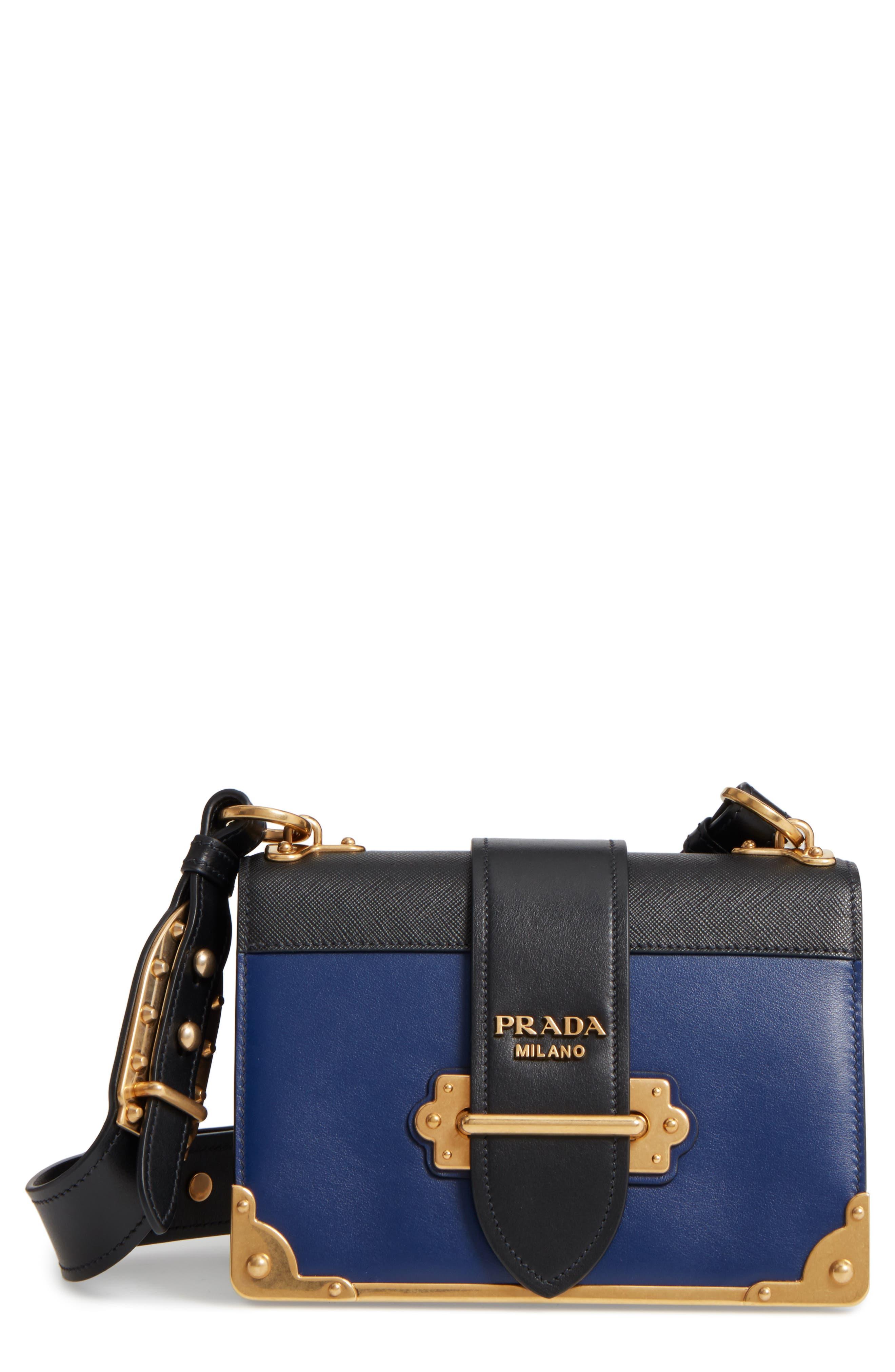 Cahier City Calfskin & Saffiano Shoulder Bag,                         Main,                         color, INCHIOSTRO/ NERO