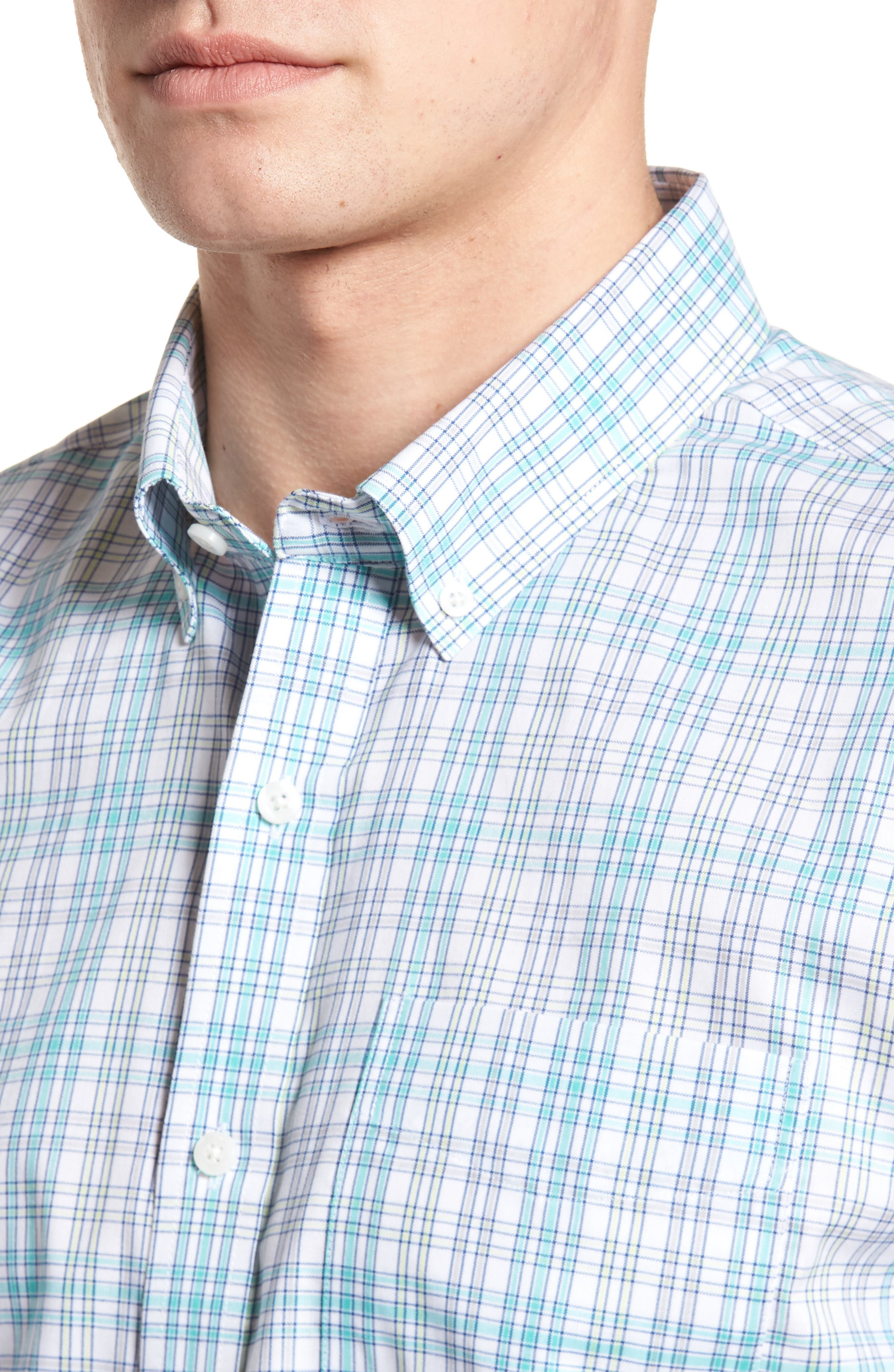 Isaac Plaid Easy Care Woven Shirt,                             Alternate thumbnail 4, color,                             328