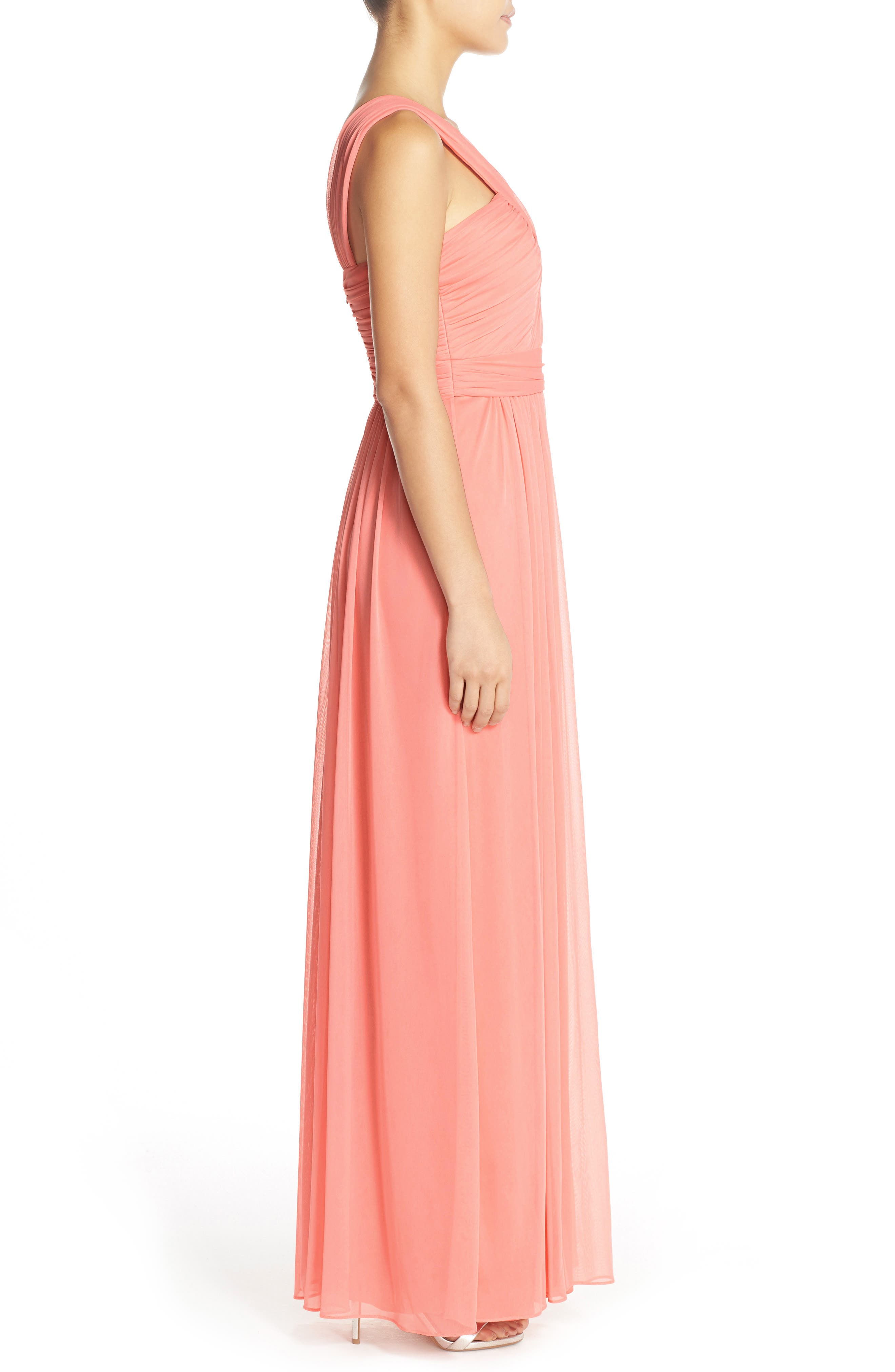 Shirred Chiffon V-Neck Gown,                             Alternate thumbnail 3, color,                             633