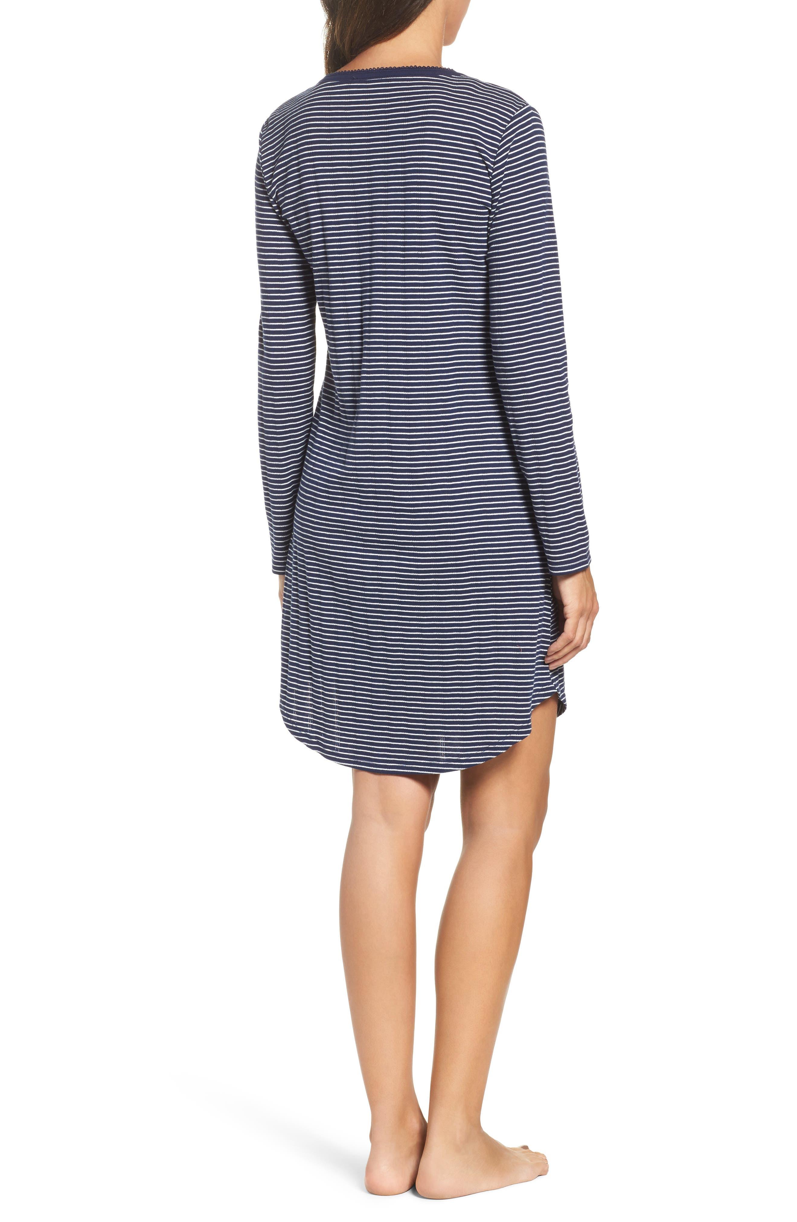 Stripe Henley Sleep Shirt,                             Alternate thumbnail 2, color,                             405