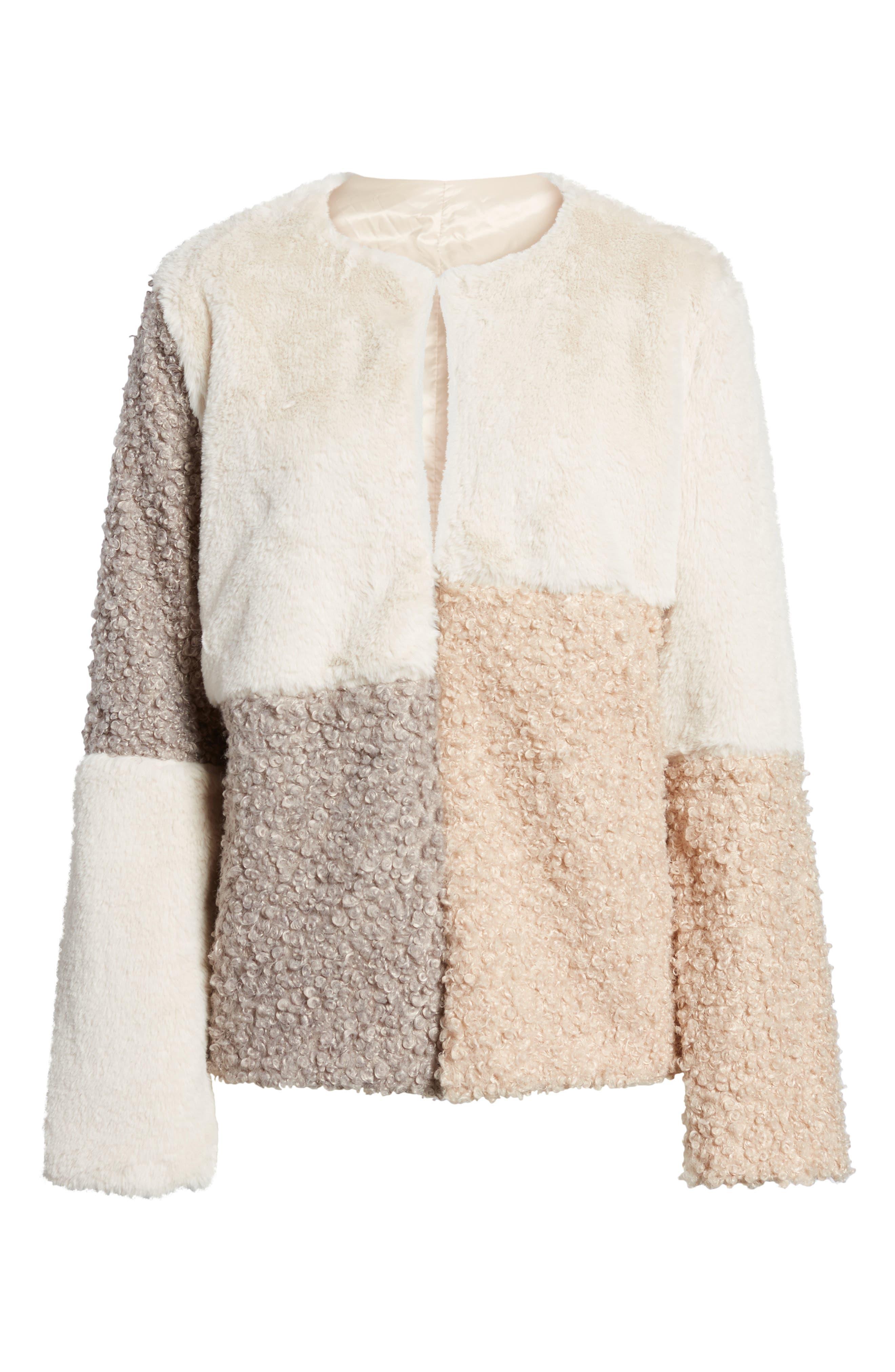 Patchwork Faux Fur Coat,                             Alternate thumbnail 5, color,