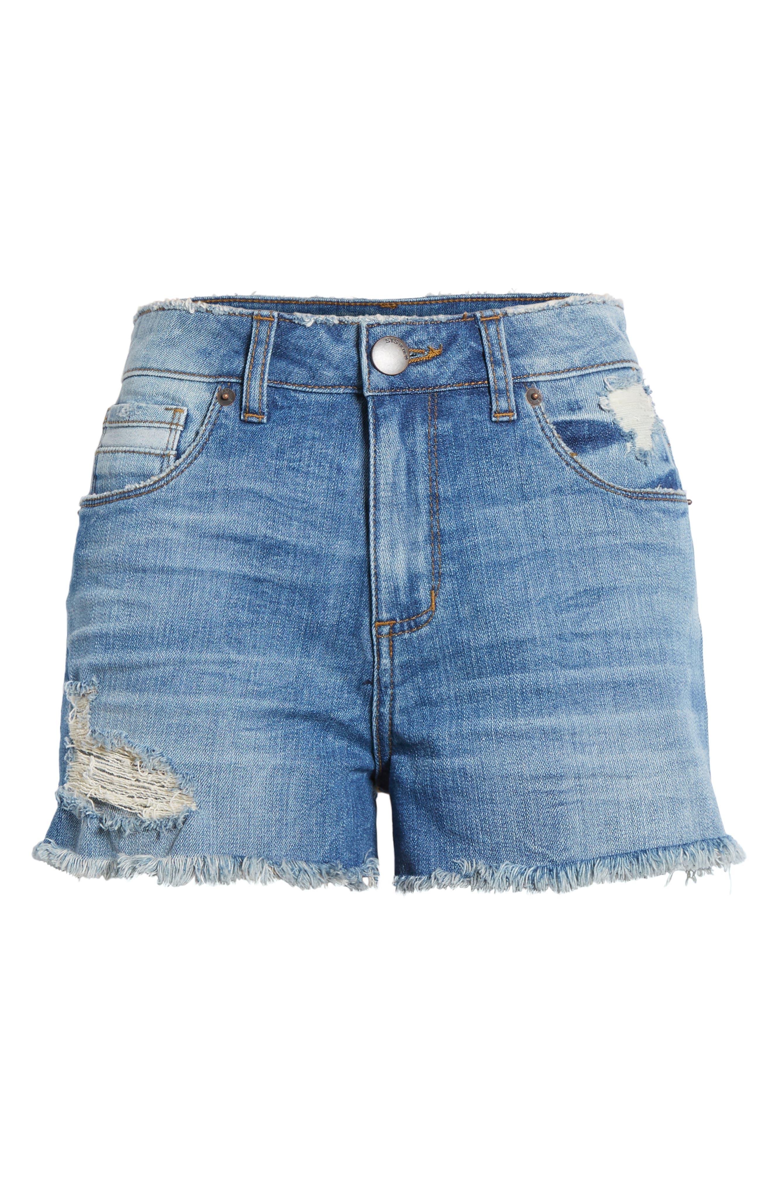 Rosebowl Shadow Pocket Denim Shorts,                             Alternate thumbnail 7, color,                             403