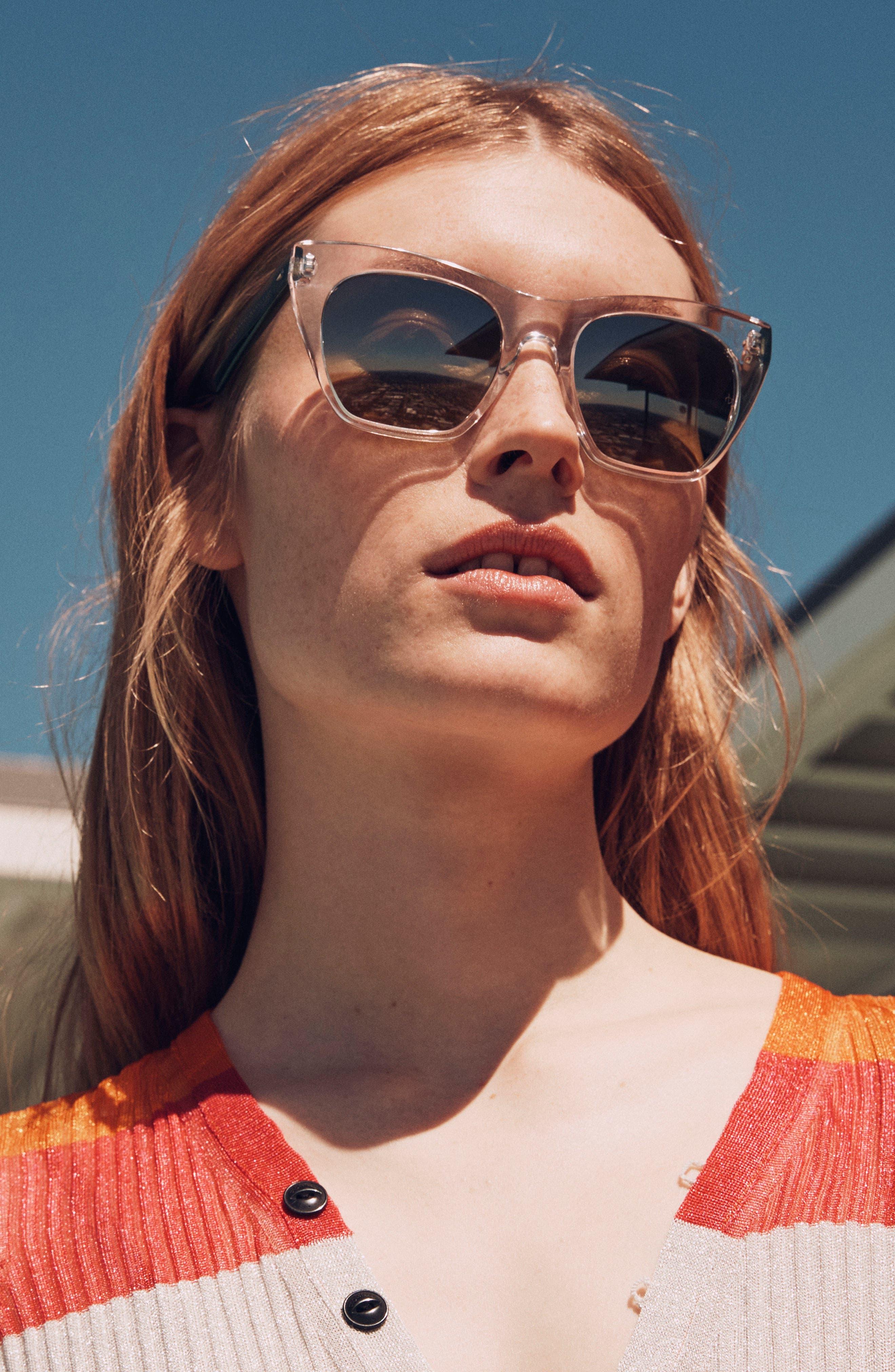 52mm Cat Eye Sunglasses,                             Alternate thumbnail 5, color,                             BLACK/ BLUE
