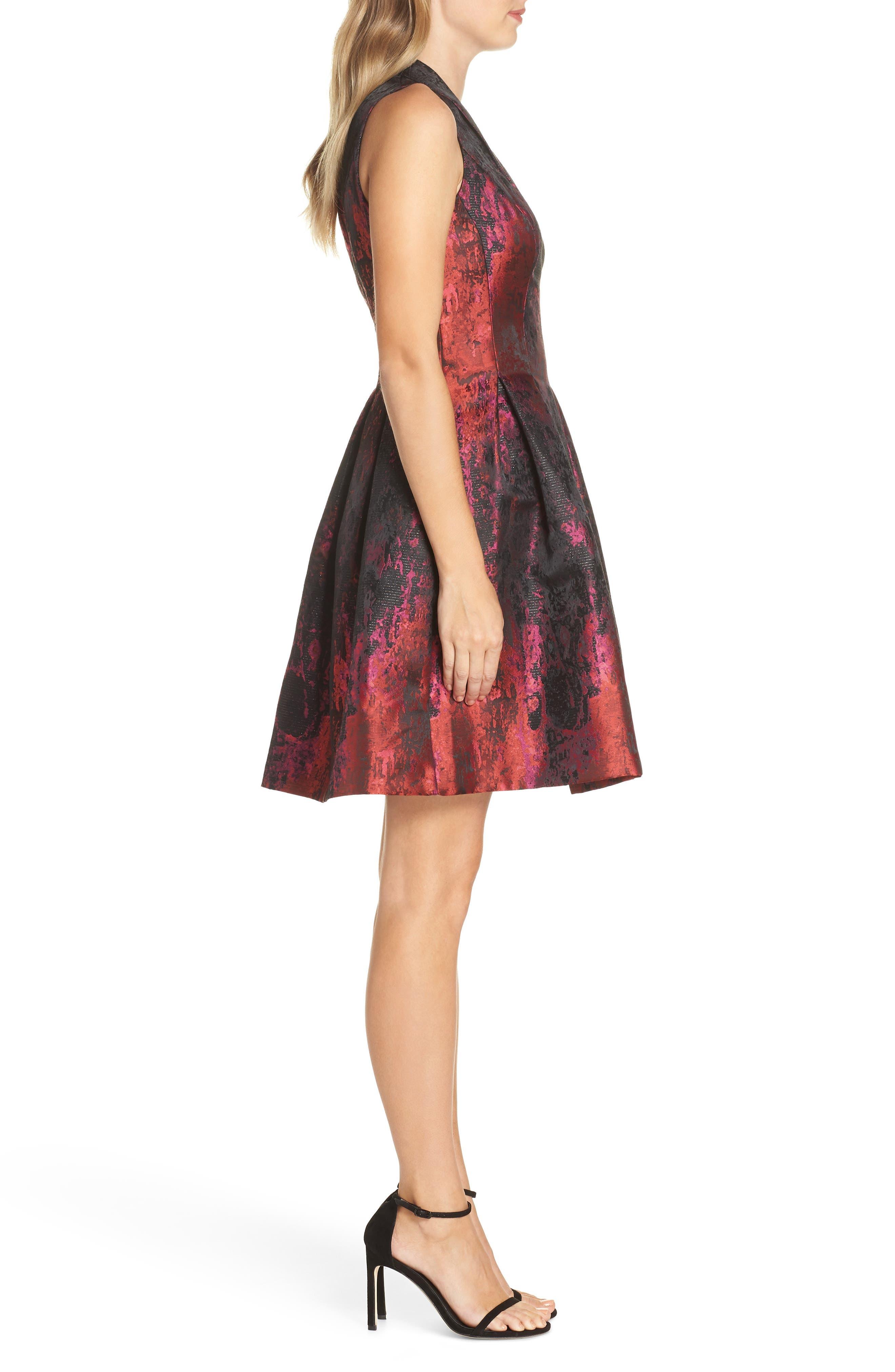 Jacquard Fit & Flare Dress,                             Alternate thumbnail 3, color,                             PINK MULTI