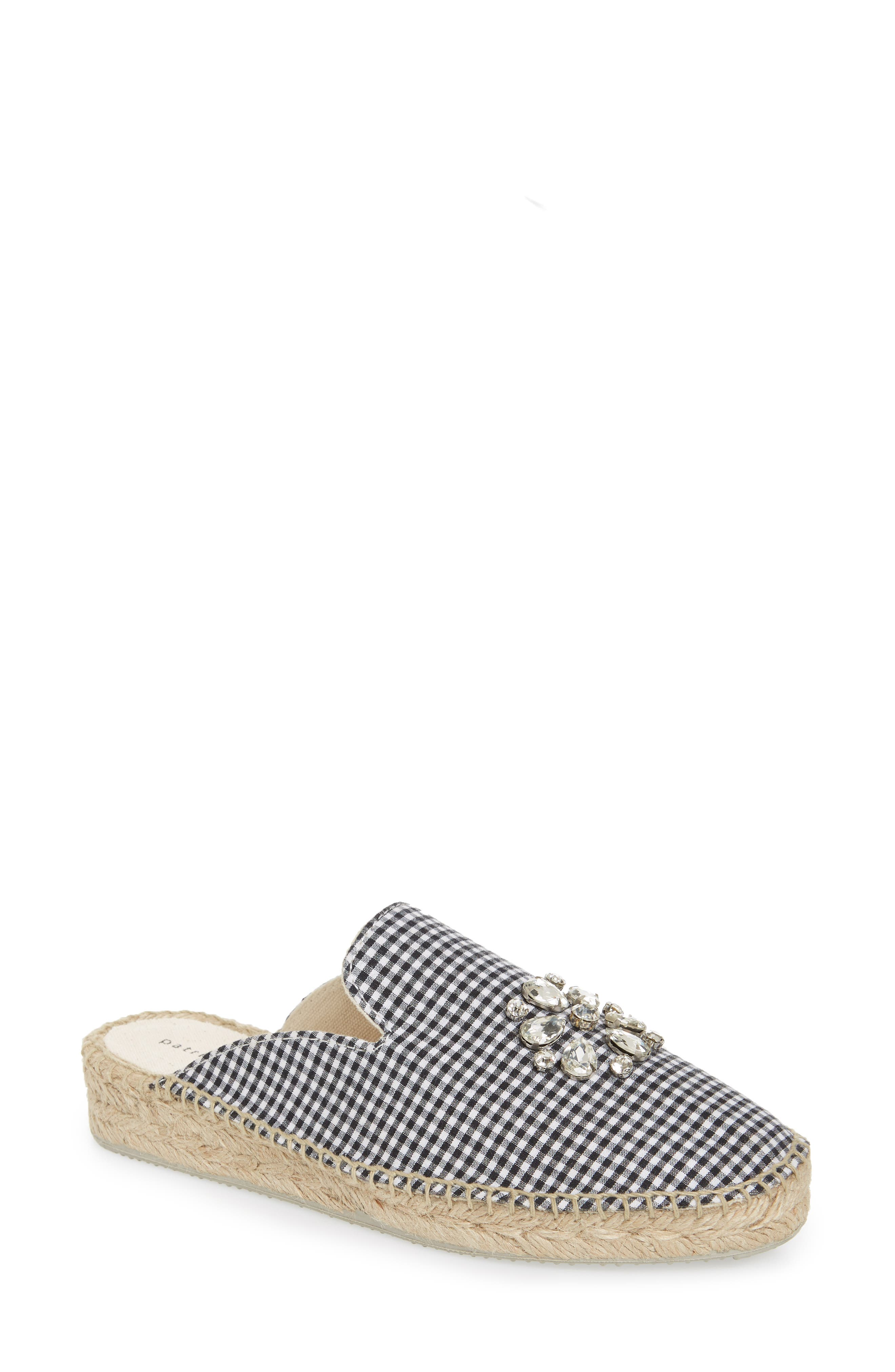 Gingham Glam Embellished Loafer Mule,                             Main thumbnail 1, color,                             BLACK FABRIC