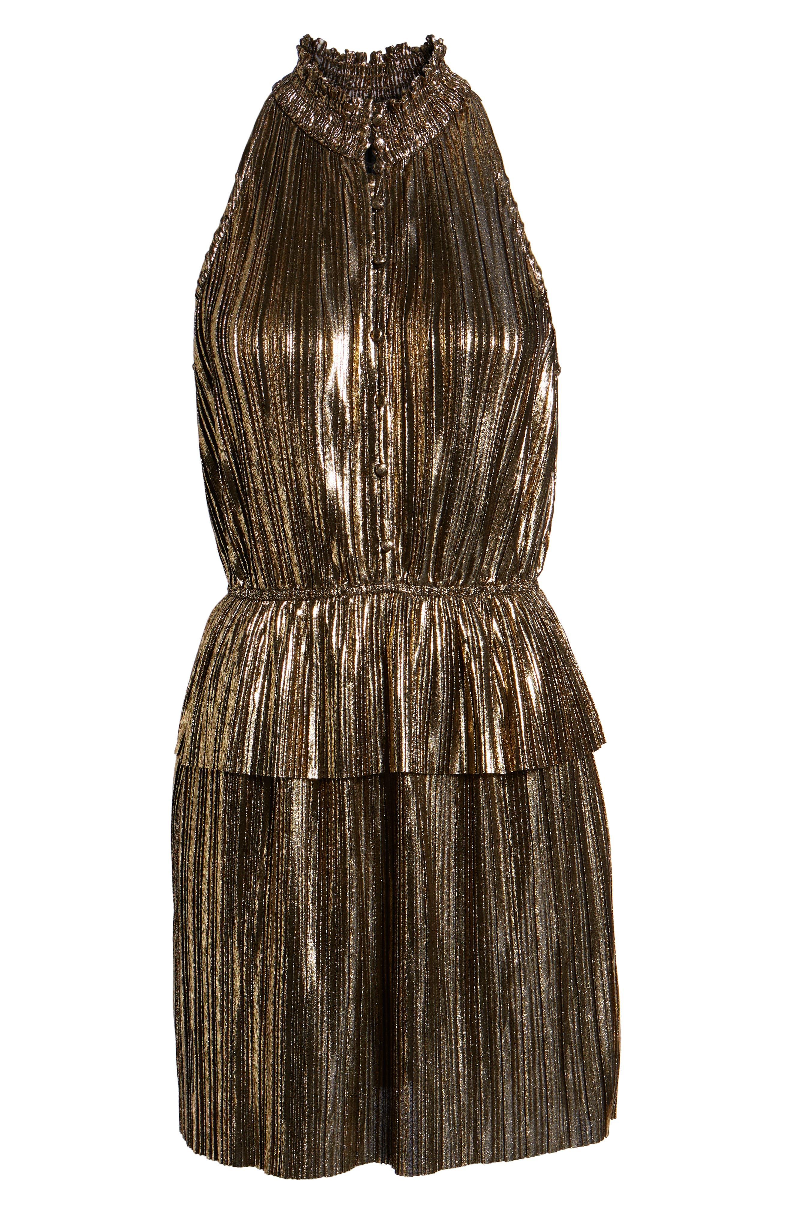 Metallic Plissé Peplum Dress,                             Alternate thumbnail 7, color,                             BRONZE