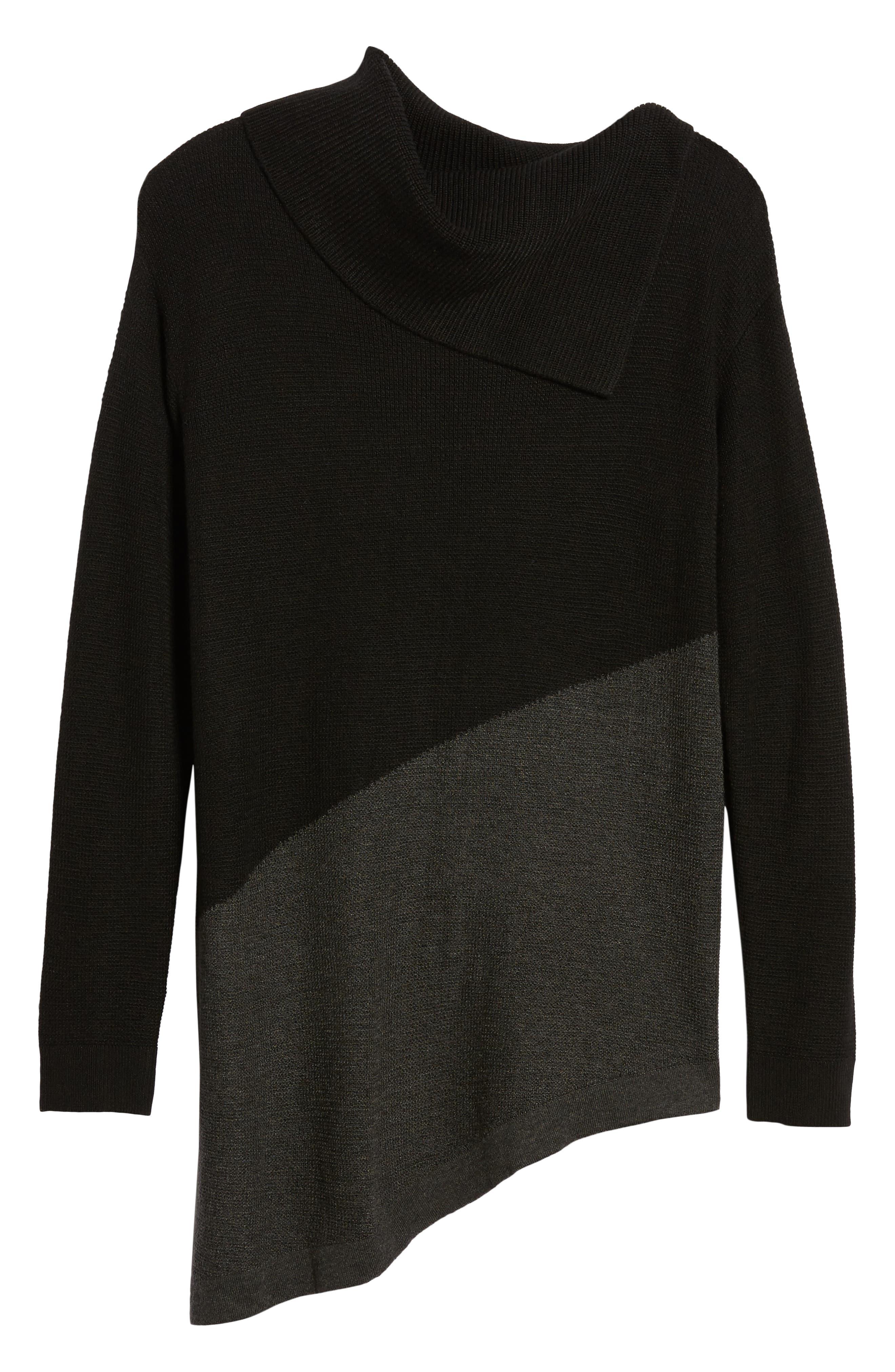 Asymmetrical Colorblock Tunic Sweater,                             Alternate thumbnail 6, color,                             RICH BLACK