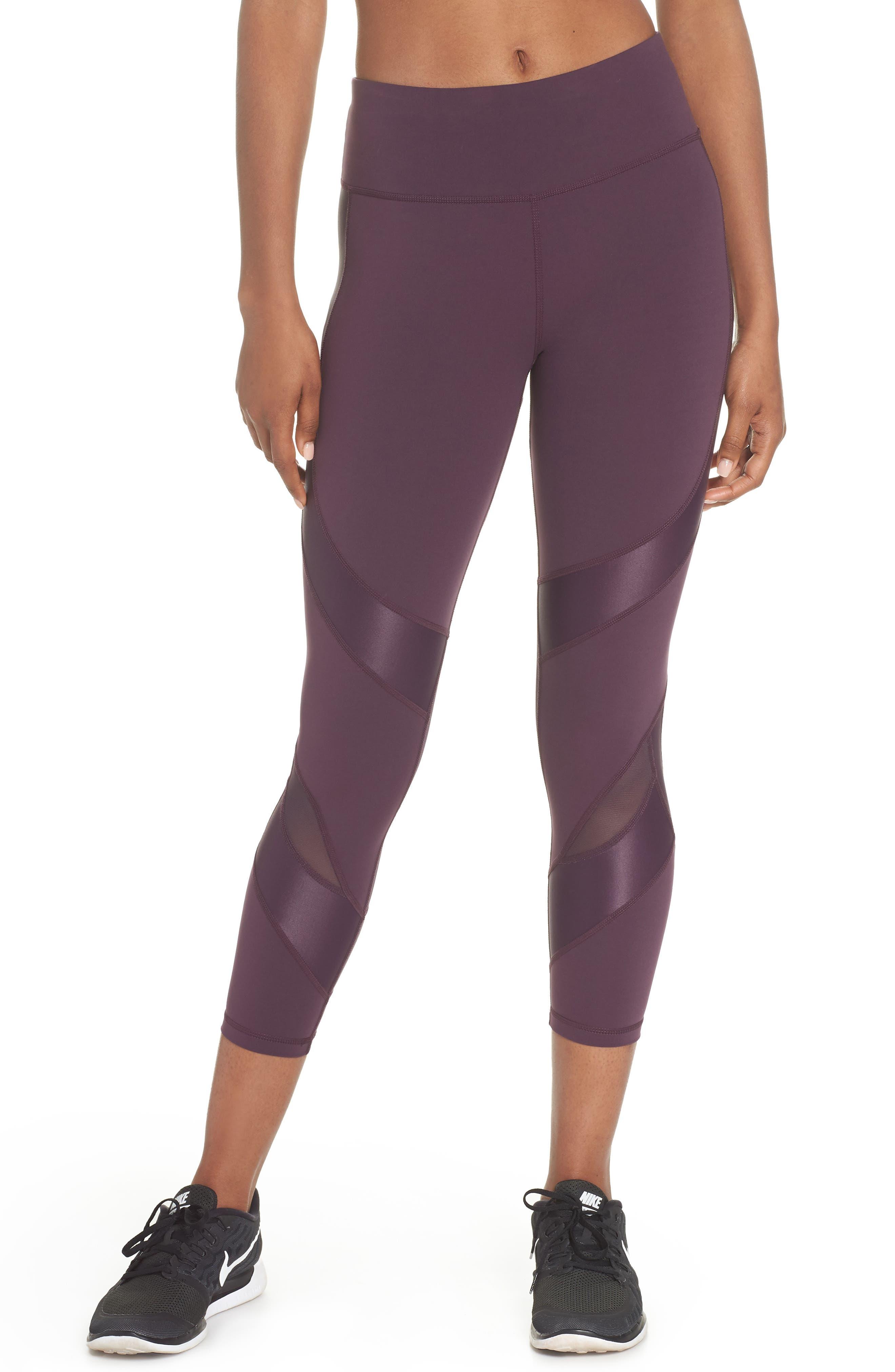 Power Wetlook Mesh 7/8 Workout Leggings,                         Main,                         color, AUBERGINE