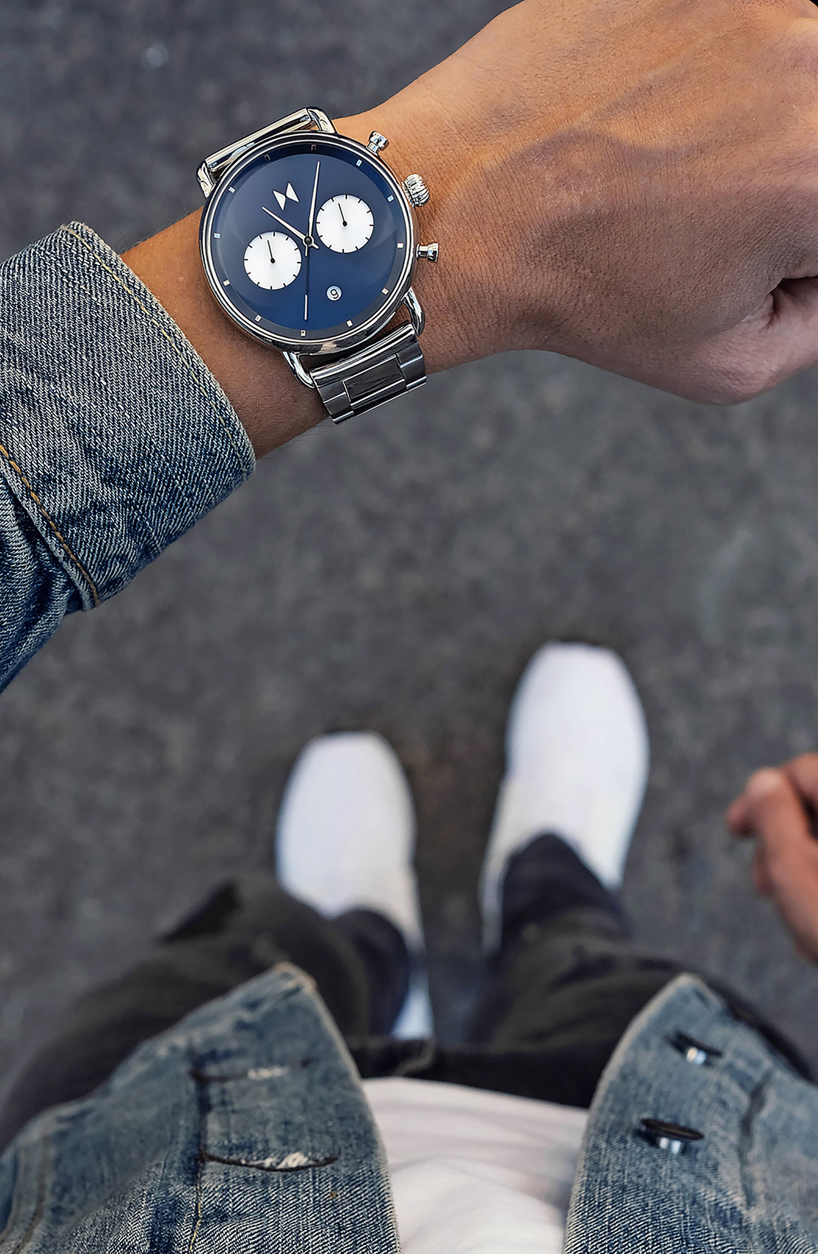 Blacktop Chronograph Bracelet Watch,                             Alternate thumbnail 4, color,                             BLUE/ SILVER