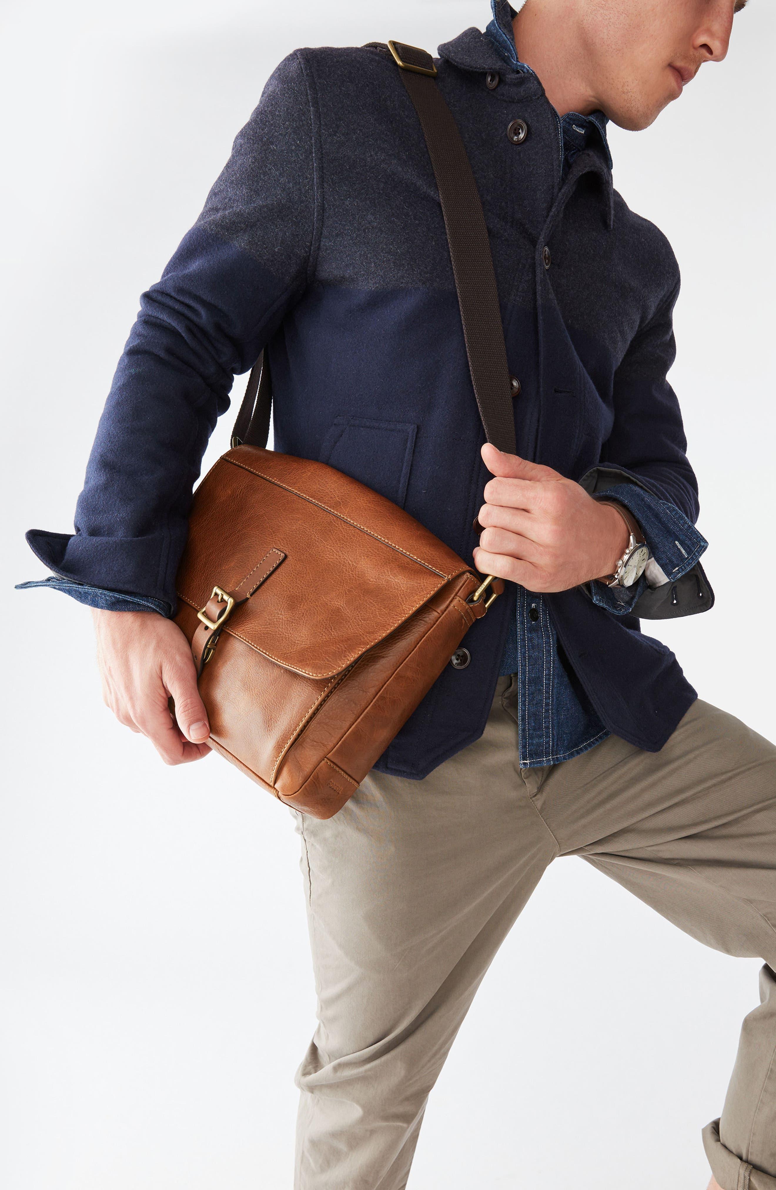 Defender Leather Messenger Bag,                             Alternate thumbnail 4, color,                             202