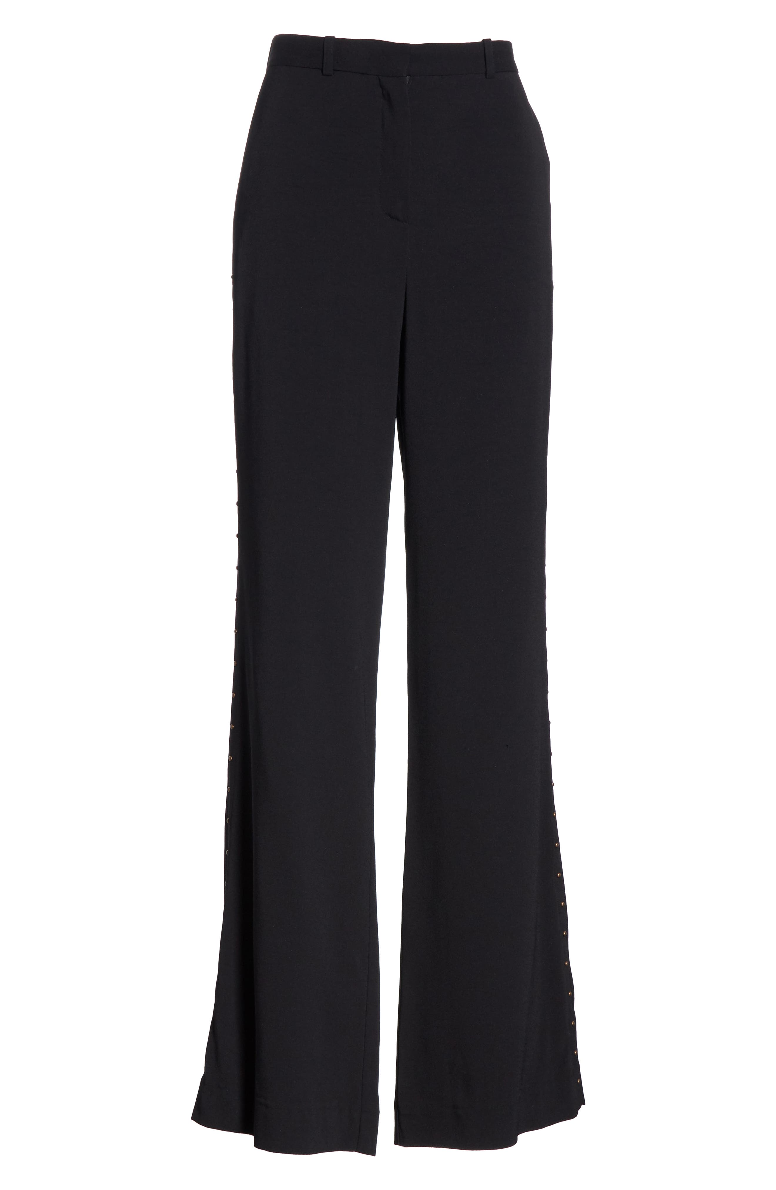 Studded Wide Leg Trousers,                             Alternate thumbnail 7, color,                             BLACK