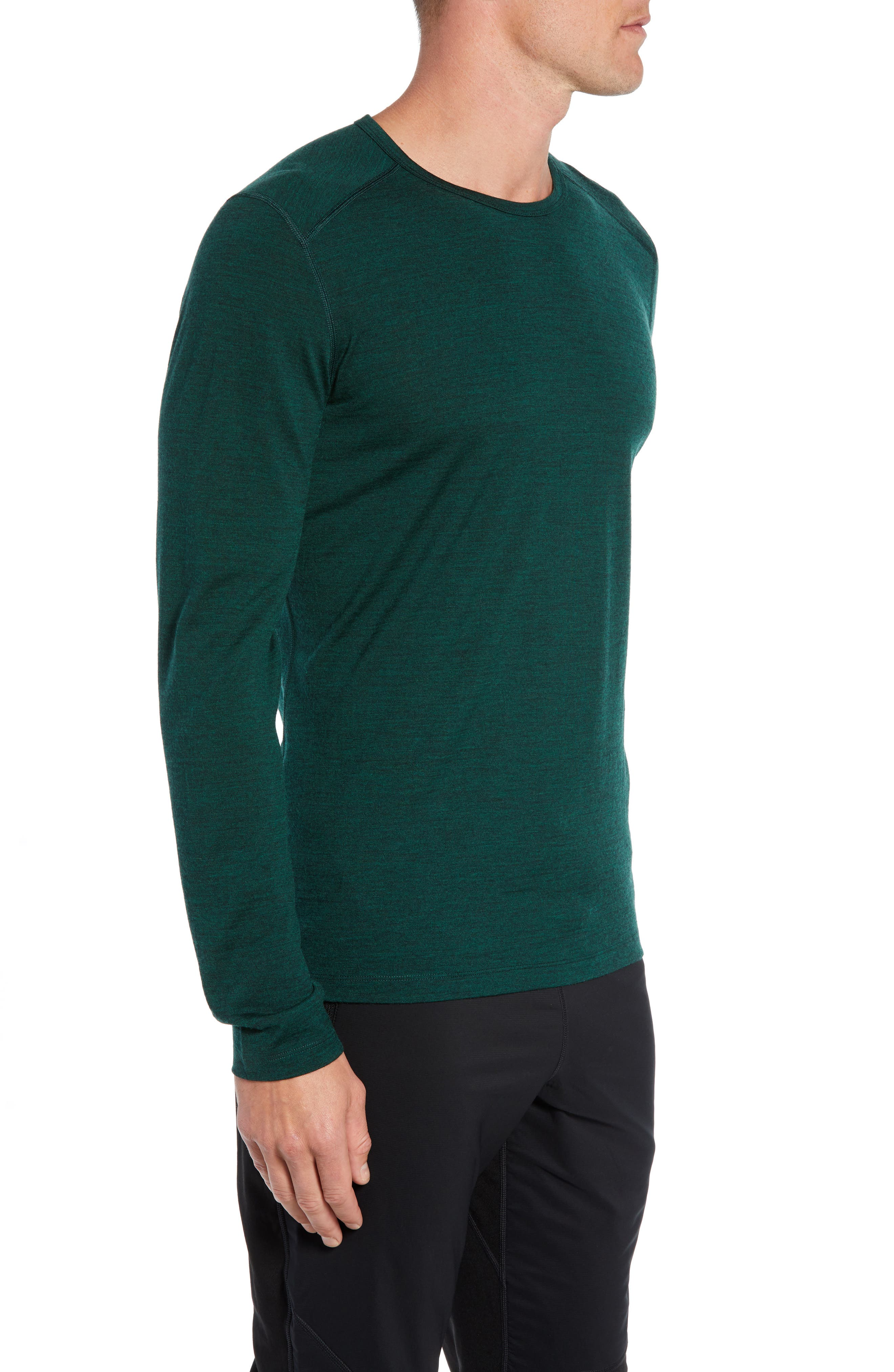 Oasis Slim Merino Wool T-Shirt,                             Alternate thumbnail 3, color,                             IMPERIAL HEATHER