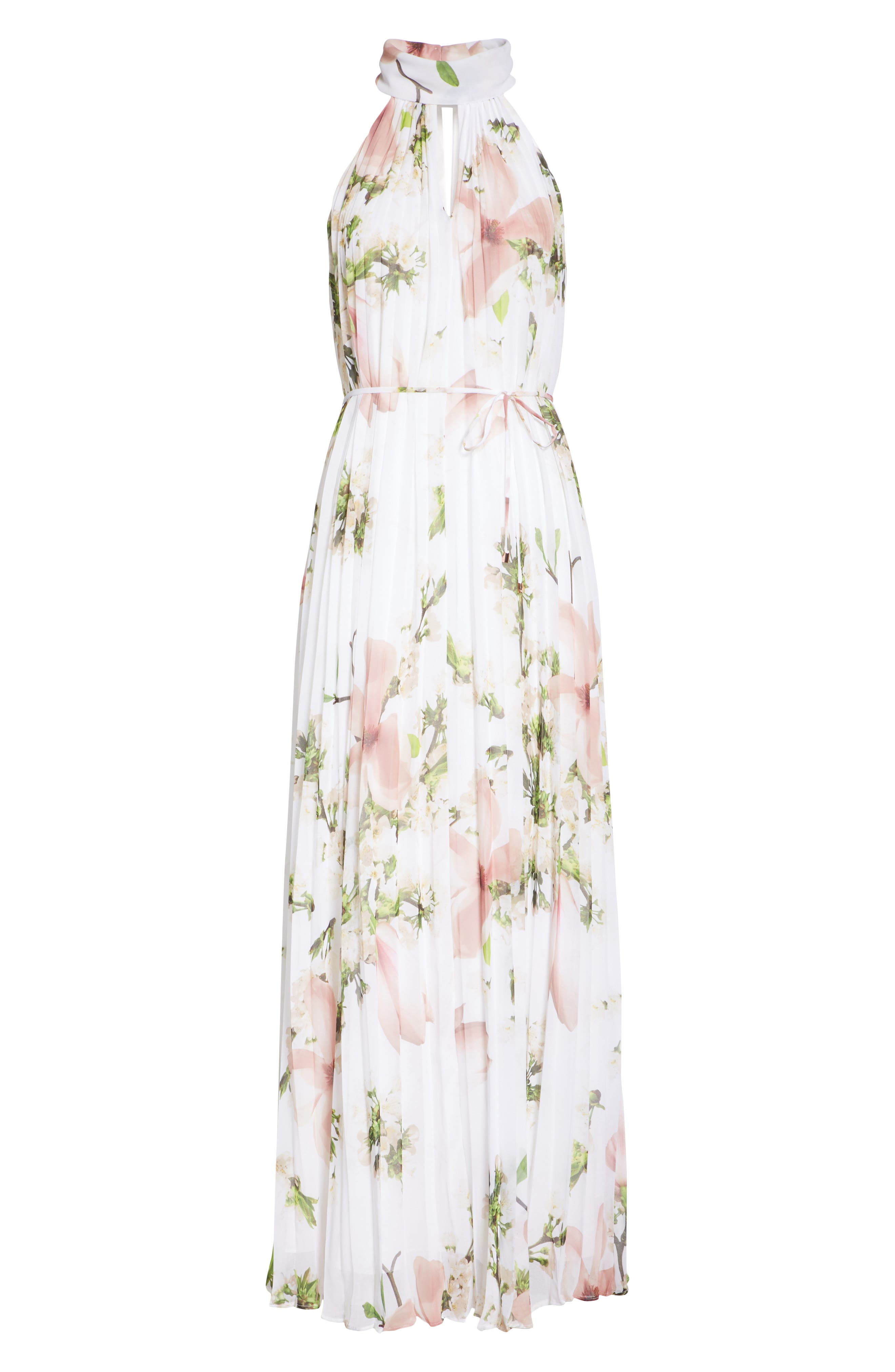 Harmony Pleat Maxi Dress,                             Alternate thumbnail 6, color,