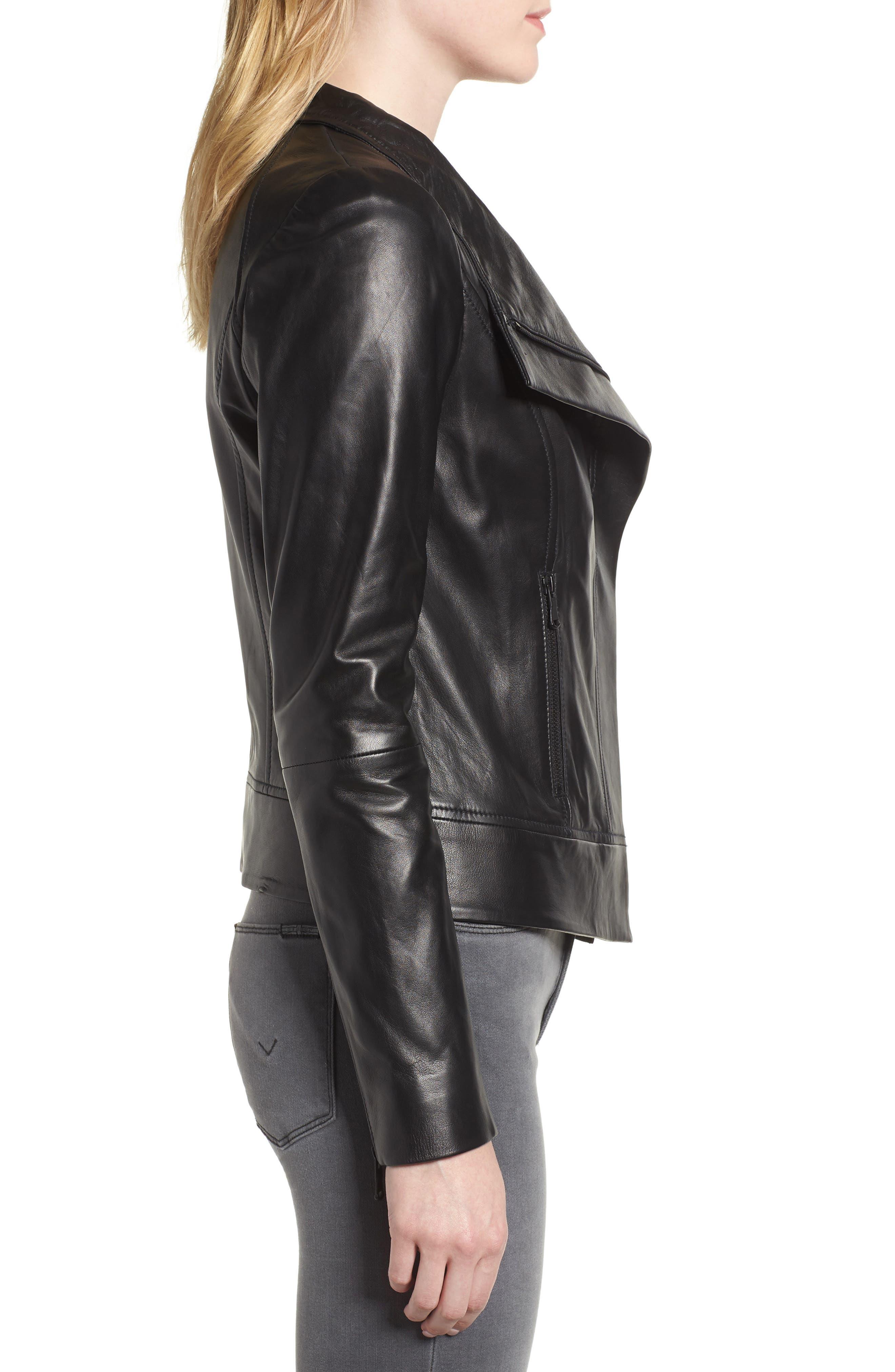 Drape Front Leather Jacket,                             Alternate thumbnail 3, color,                             BLACK