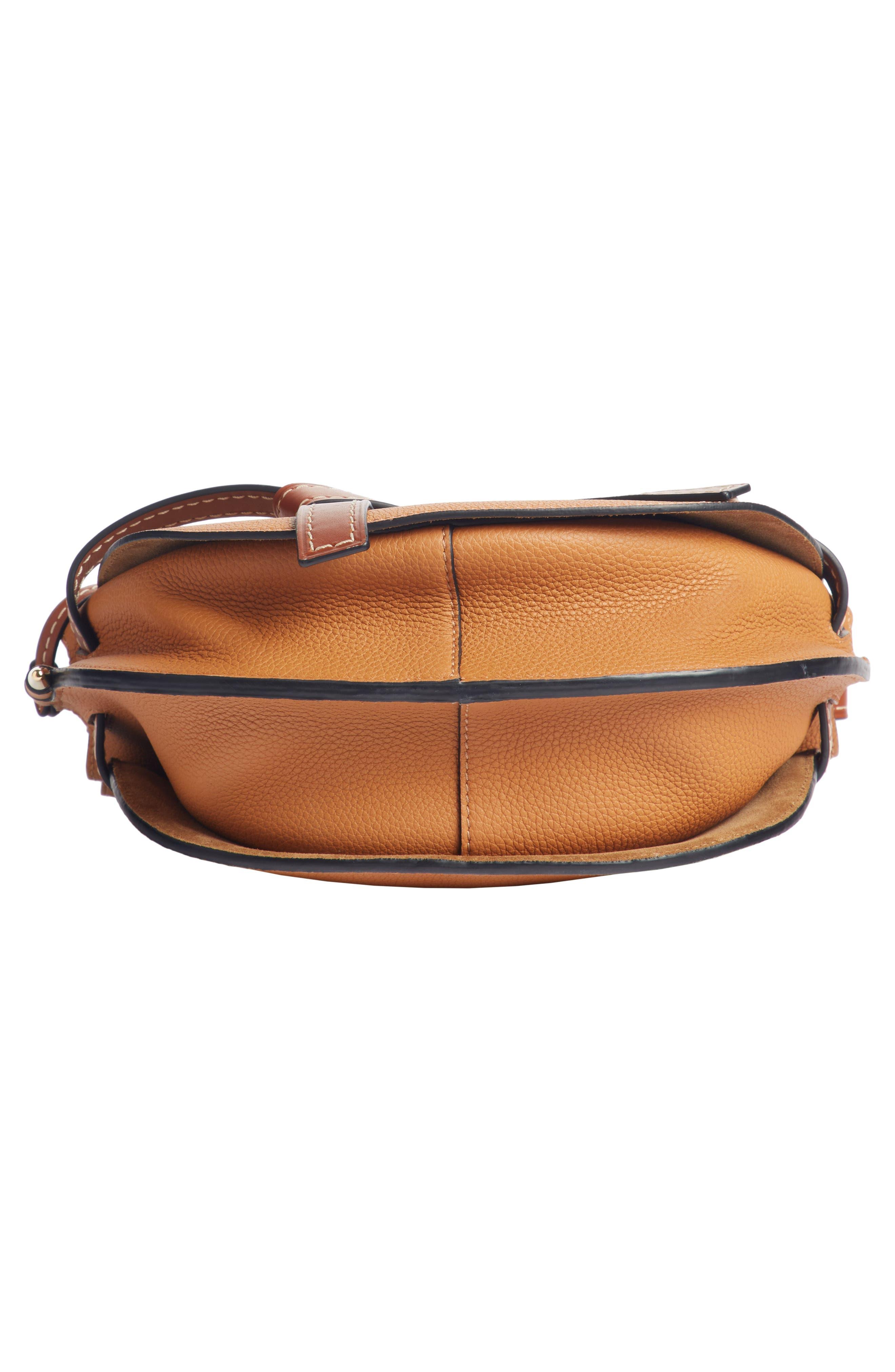 LOEWE,                             Small Gate Leather Crossbody Bag,                             Alternate thumbnail 5, color,                             LIGHT CARAMEL/ PECAN