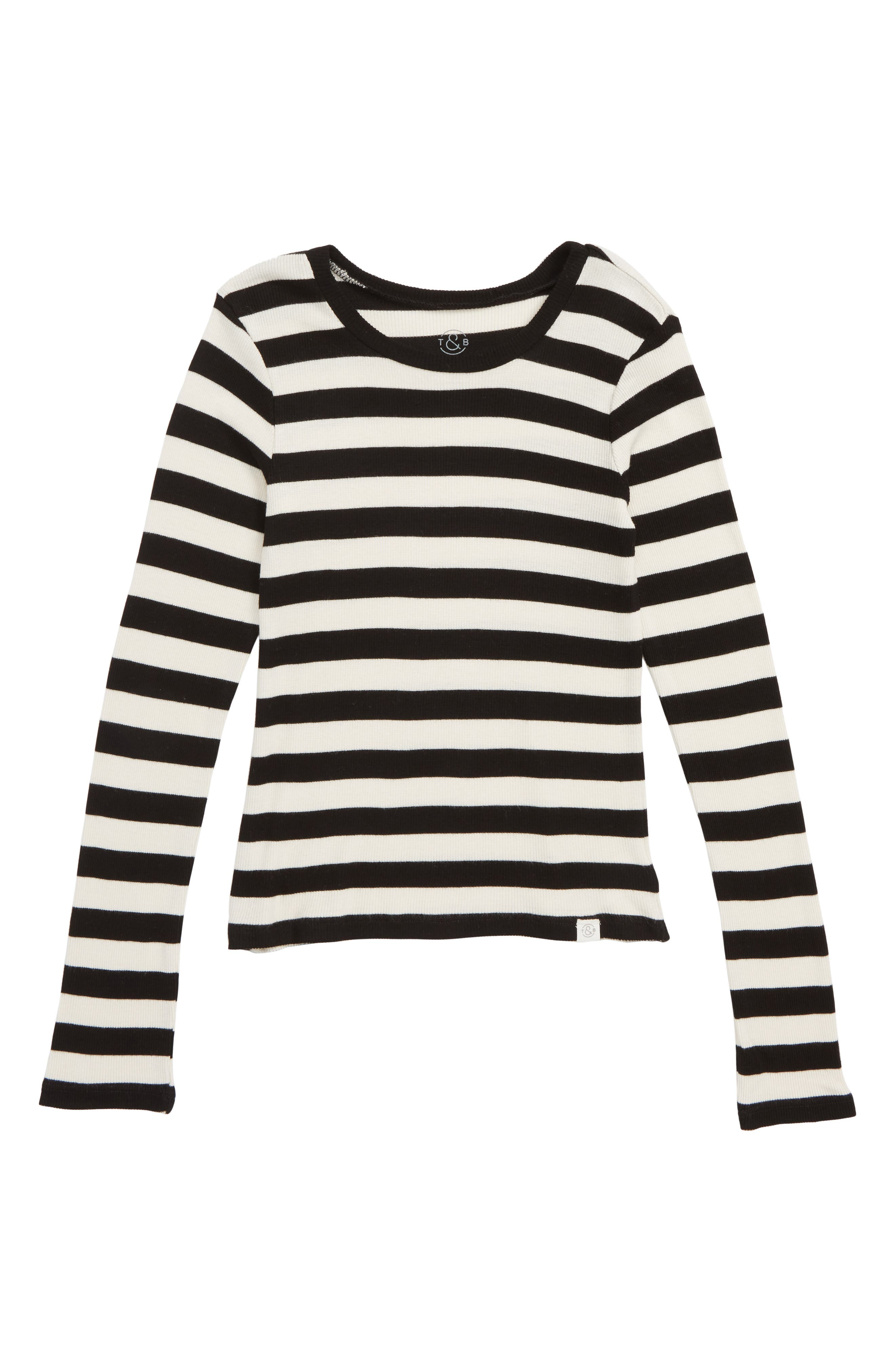 Fitted Rib Tee,                         Main,                         color, IVORY EGRET- BLACK STRIPE