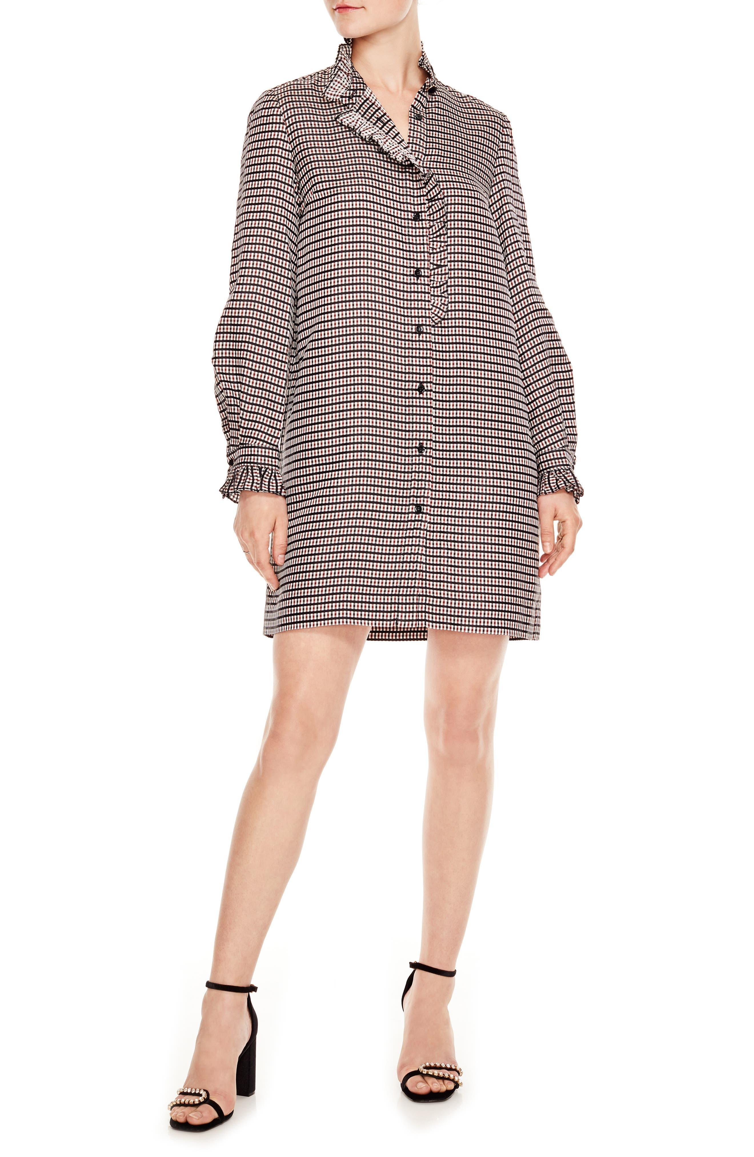 Optic Plaid Shirtdress,                             Main thumbnail 1, color,                             MULTI