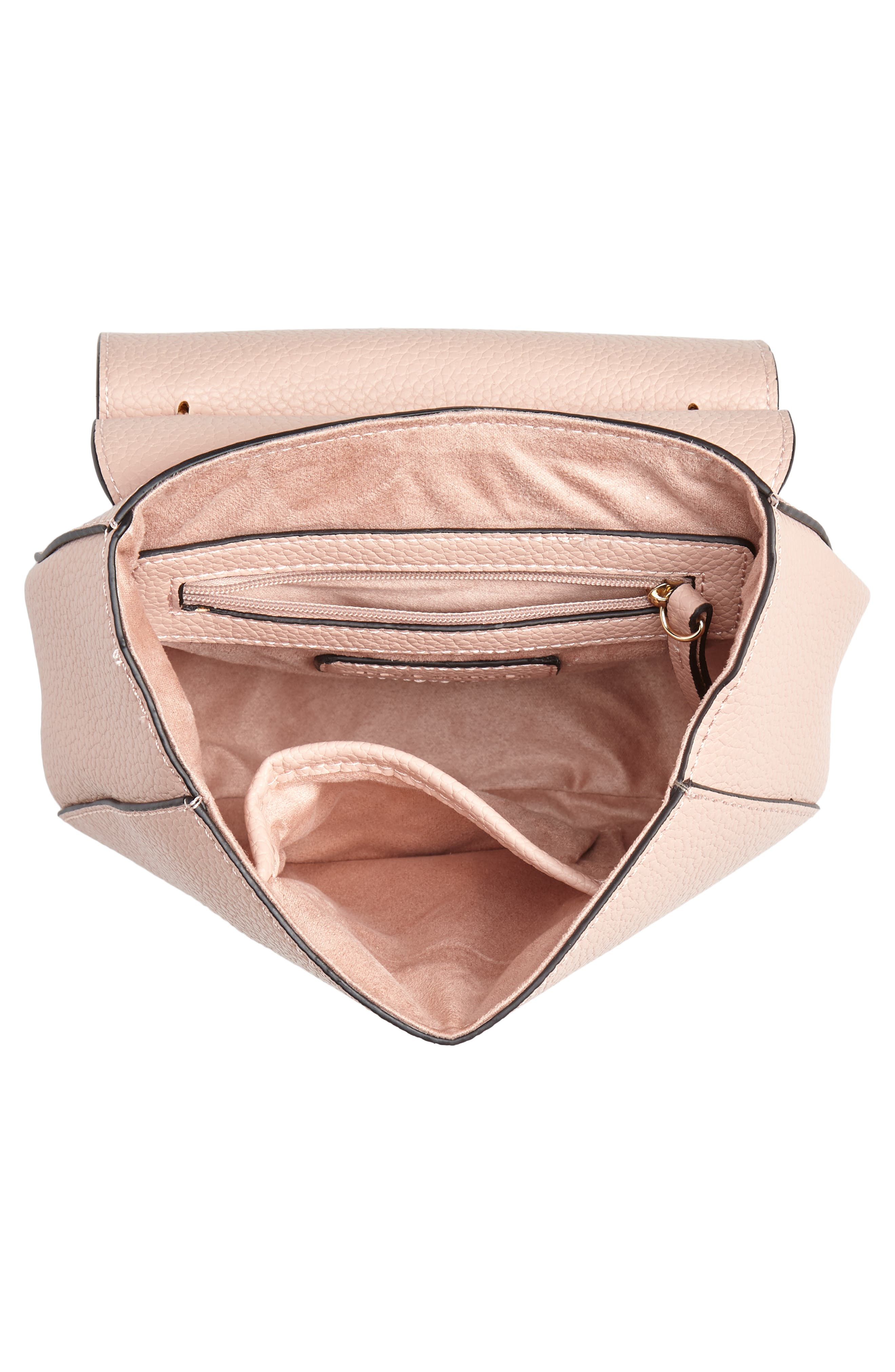 Draped Chain Faux Leather Crossbody Bag,                             Alternate thumbnail 5, color,                             BLUSH