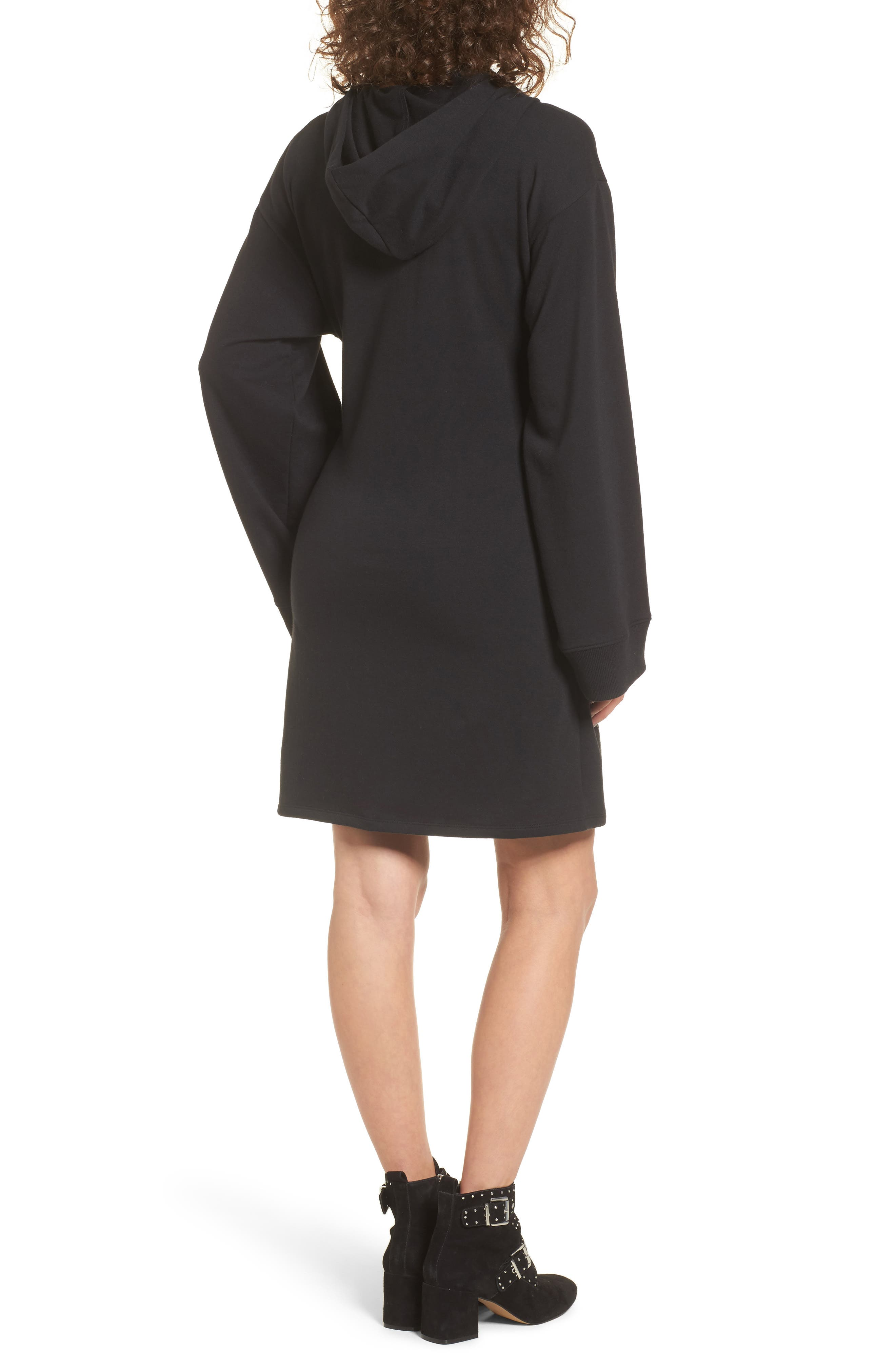 Corset Hoodie Sweatshirt Dress,                             Alternate thumbnail 2, color,                             001