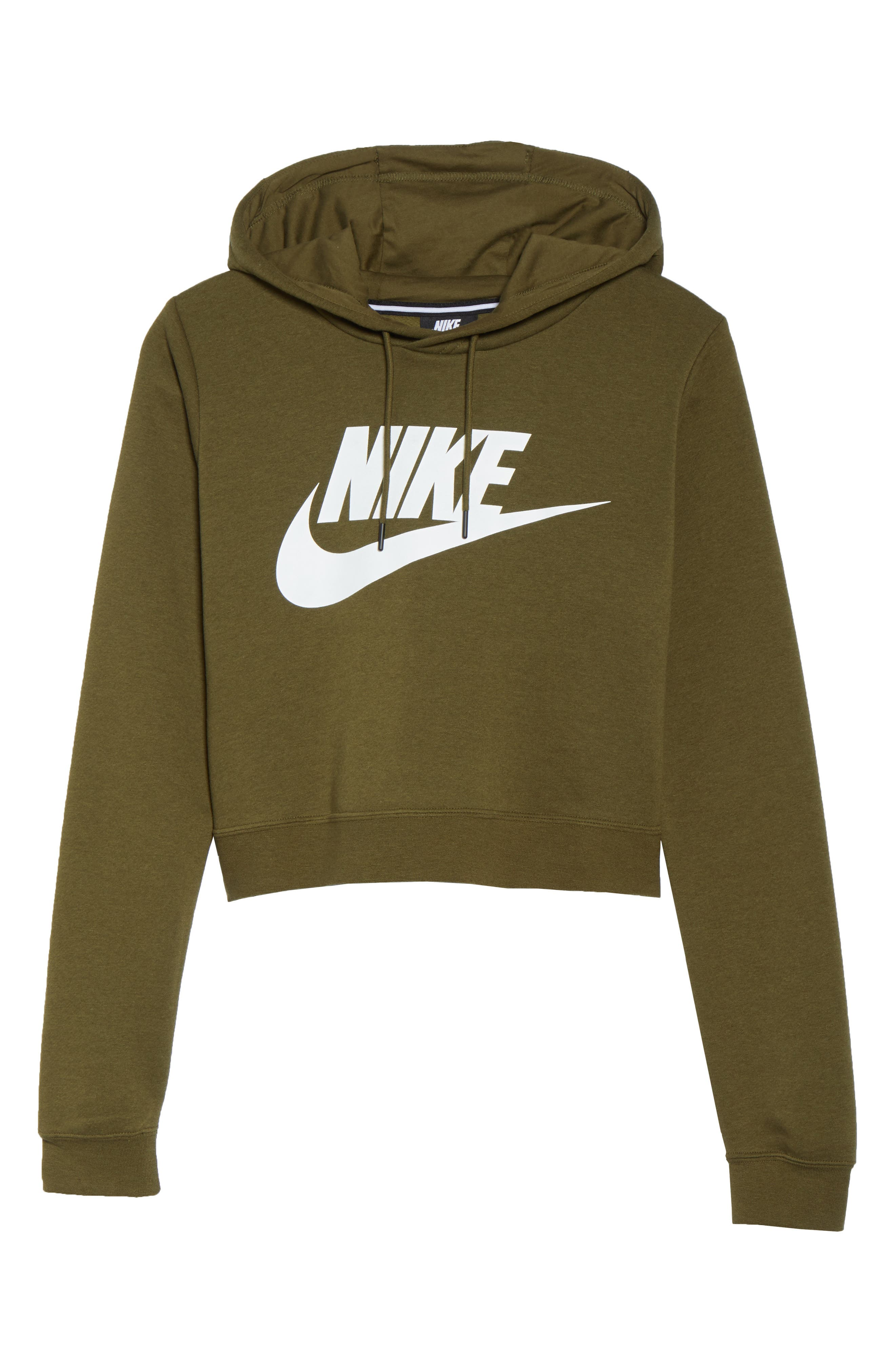 Sportswear Rally Crop Hoodie,                             Alternate thumbnail 7, color,                             OLIVE CANVAS/ WHITE